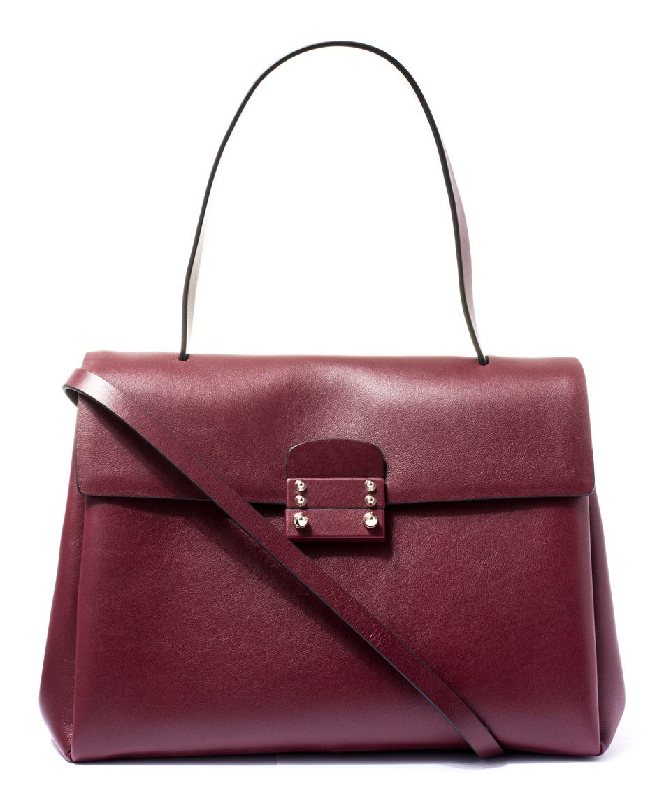 Valentino Small Burgundy Mime Single Handle Leather Satchel Bag in ...