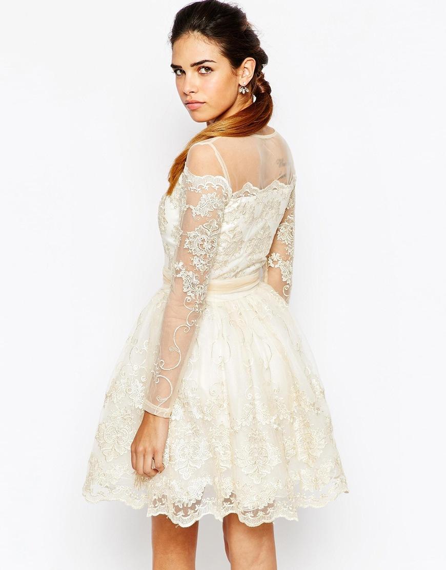 White lace mini skater dress