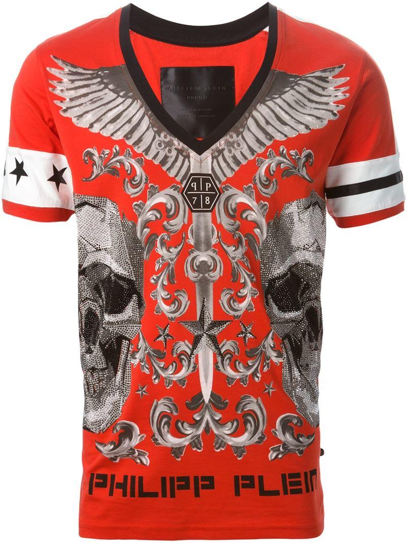 philipp plein 39 don 39 t get comfy 39 t shirt in red for men lyst. Black Bedroom Furniture Sets. Home Design Ideas
