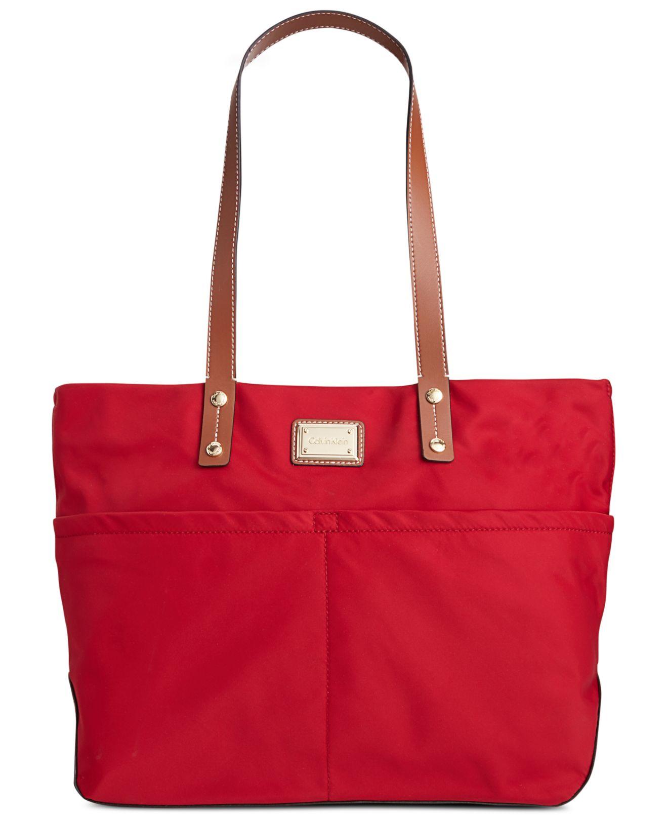 05708f6ac Calvin Klein Dressy Nylon Tote in Red - Lyst