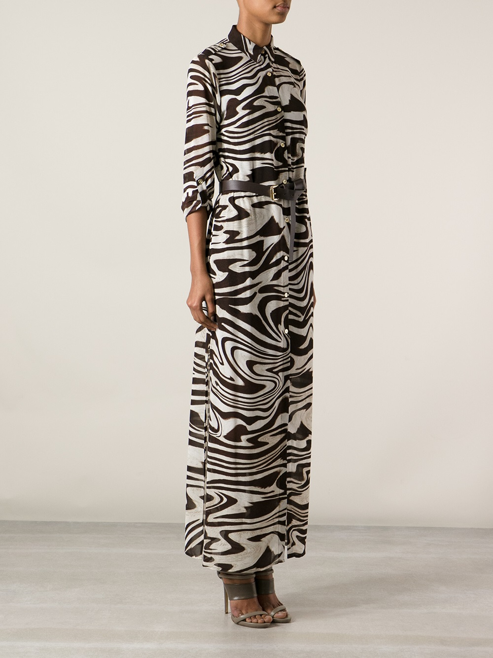 Michael Michael Kors Zebra Print Shirt Dress In Brown Lyst