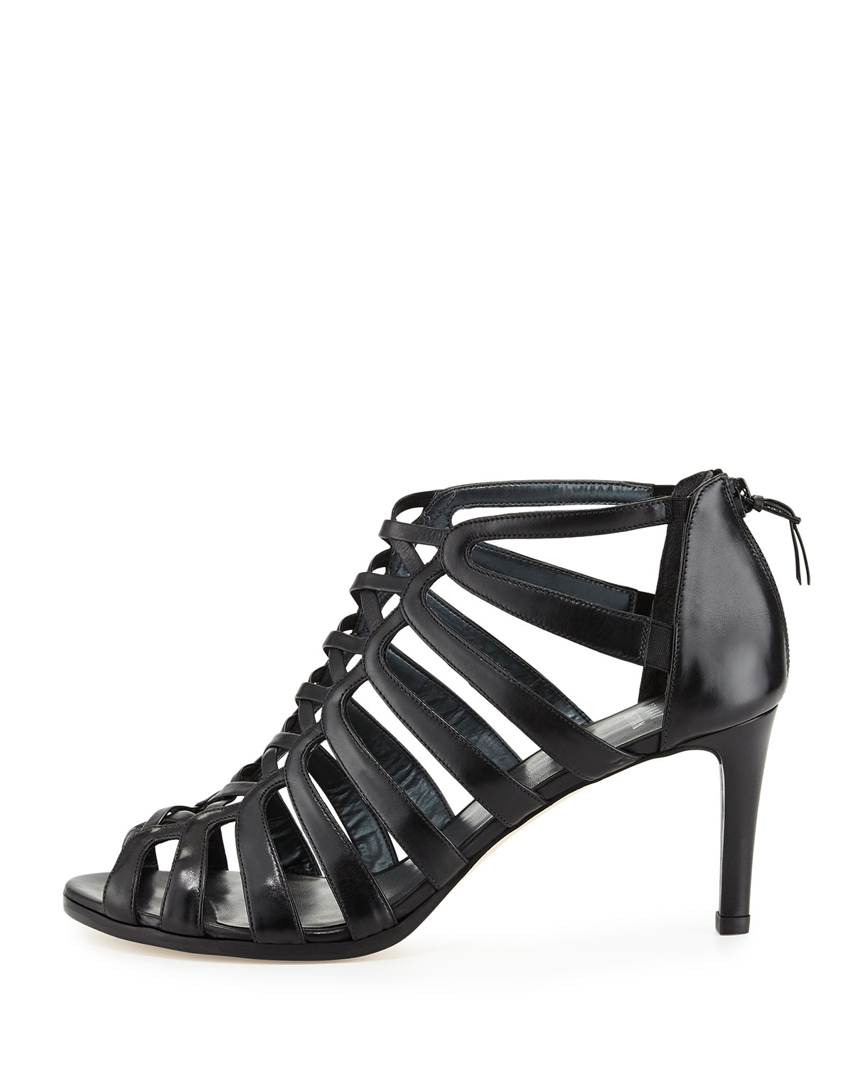 Black Strappy Mid Heel Sandals - Is Heel