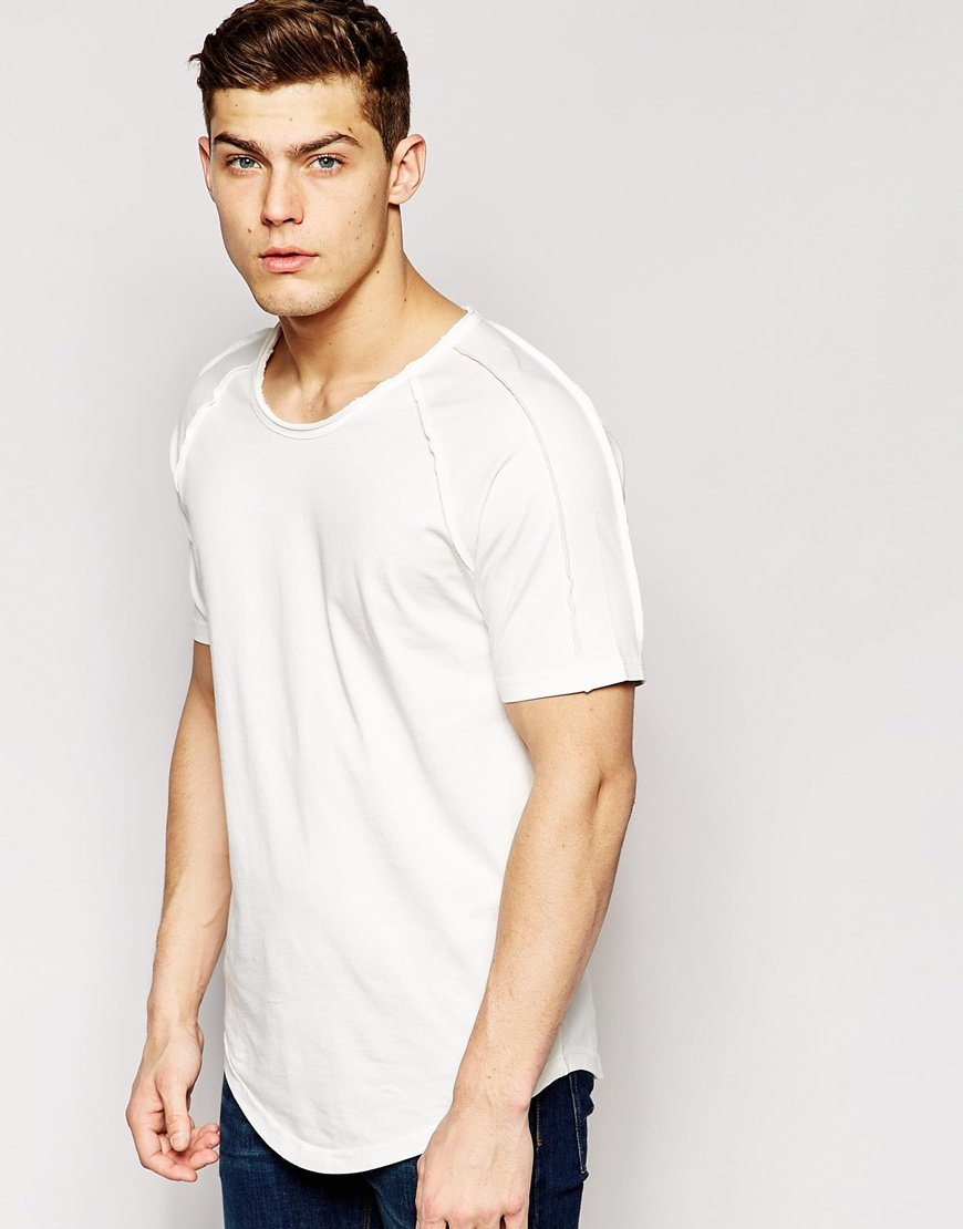 63ae999162438 Lyst - Only   Sons Longline T-Shirt With Raw Edge And Curved Hem in ...