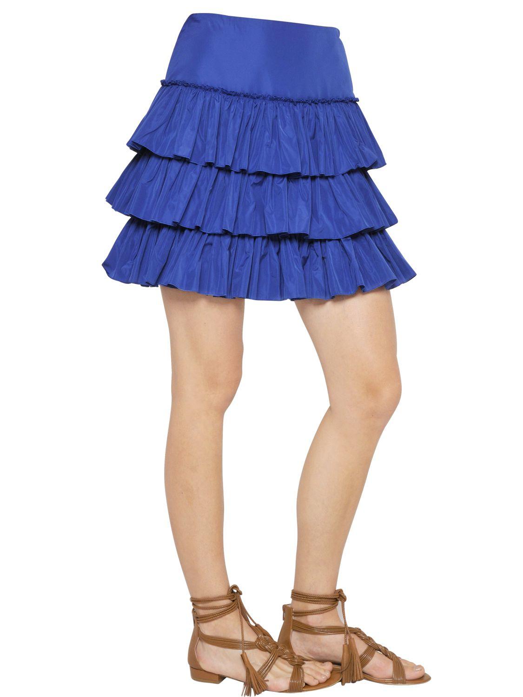 blugirl blumarine tiered ruffled taffeta skirt in blue lyst
