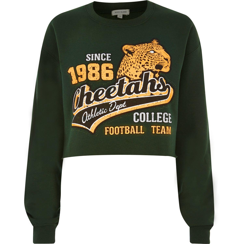 1ea543126a6 River Island Green Cheetahs Cropped Sweatshirt in Yellow - Lyst