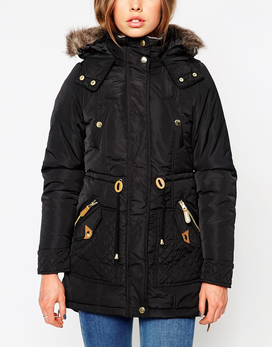lyst vero moda parka jacket with faux fur hood. Black Bedroom Furniture Sets. Home Design Ideas