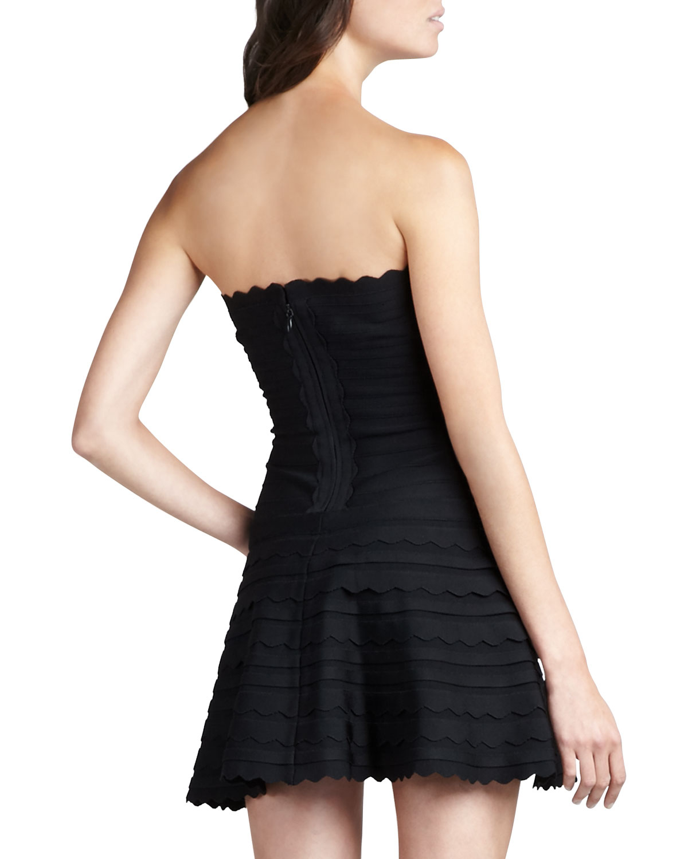 Hervé léger Scalloped Strapless Bandage Dress in Black | Lyst
