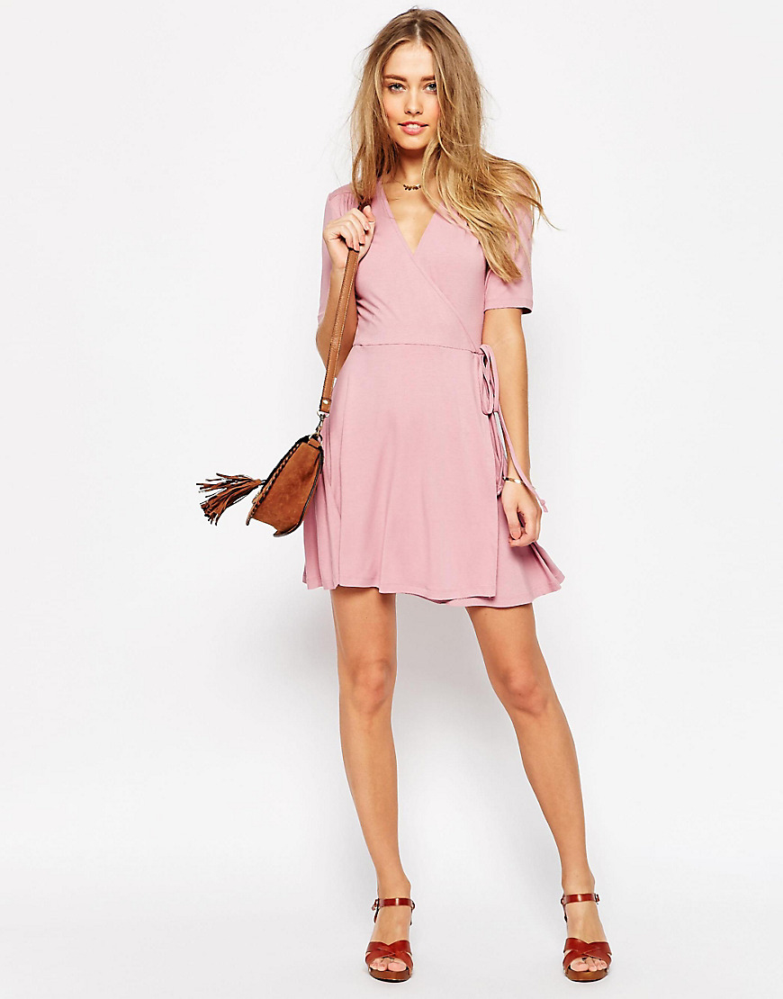 ddf35ca99499 ASOS Mini Tea Dress With Wrap Front in Pink - Lyst