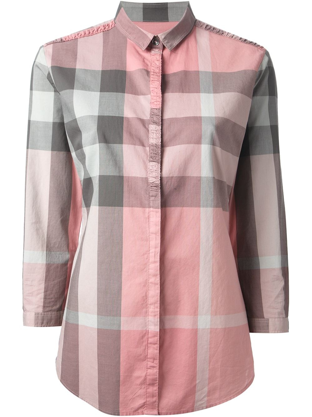 Lyst burberry brit checked shirt in pink for Burberry brit checked shirt