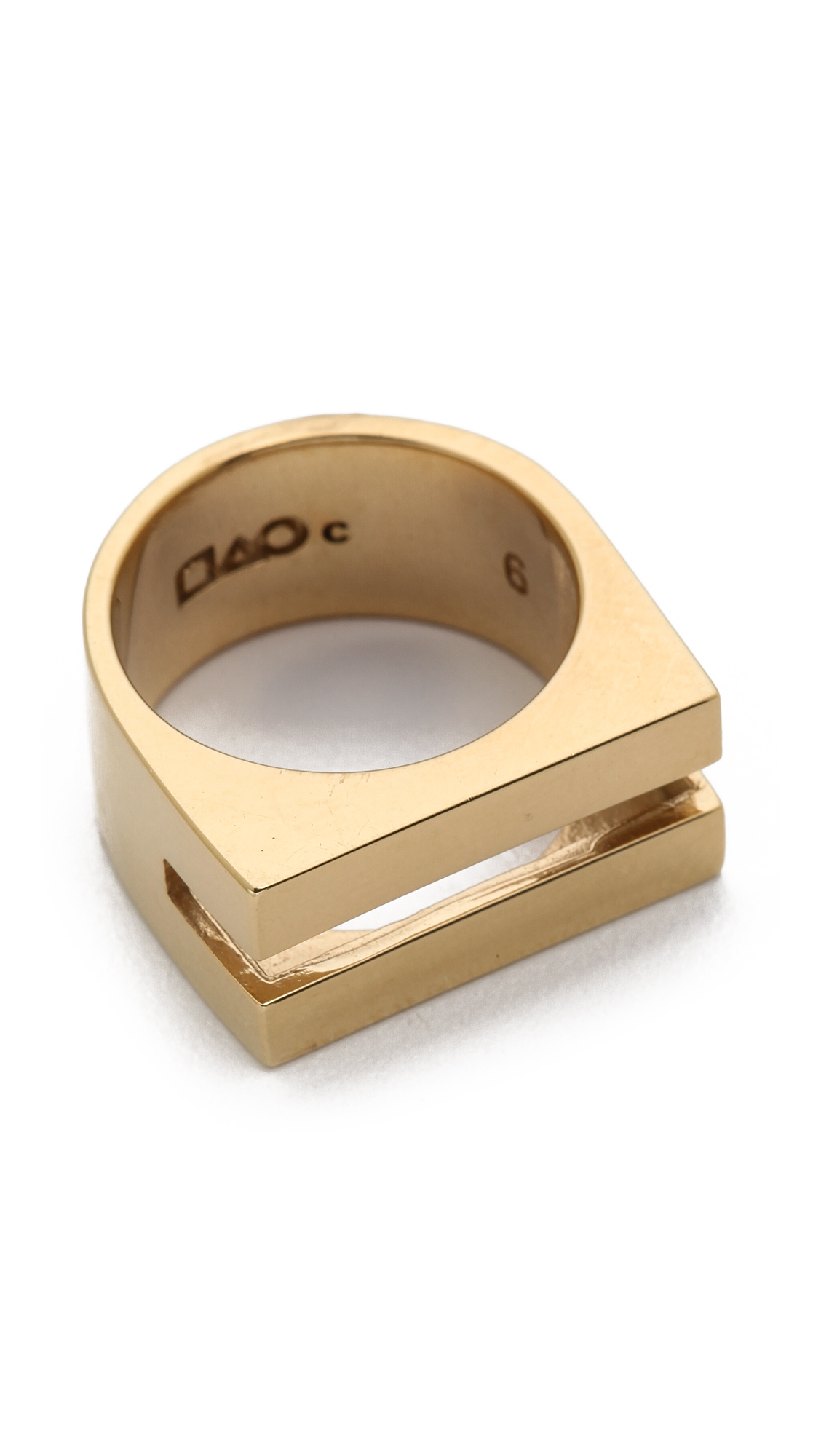 Campbell Coin Slot Ring - Gold in Metallic