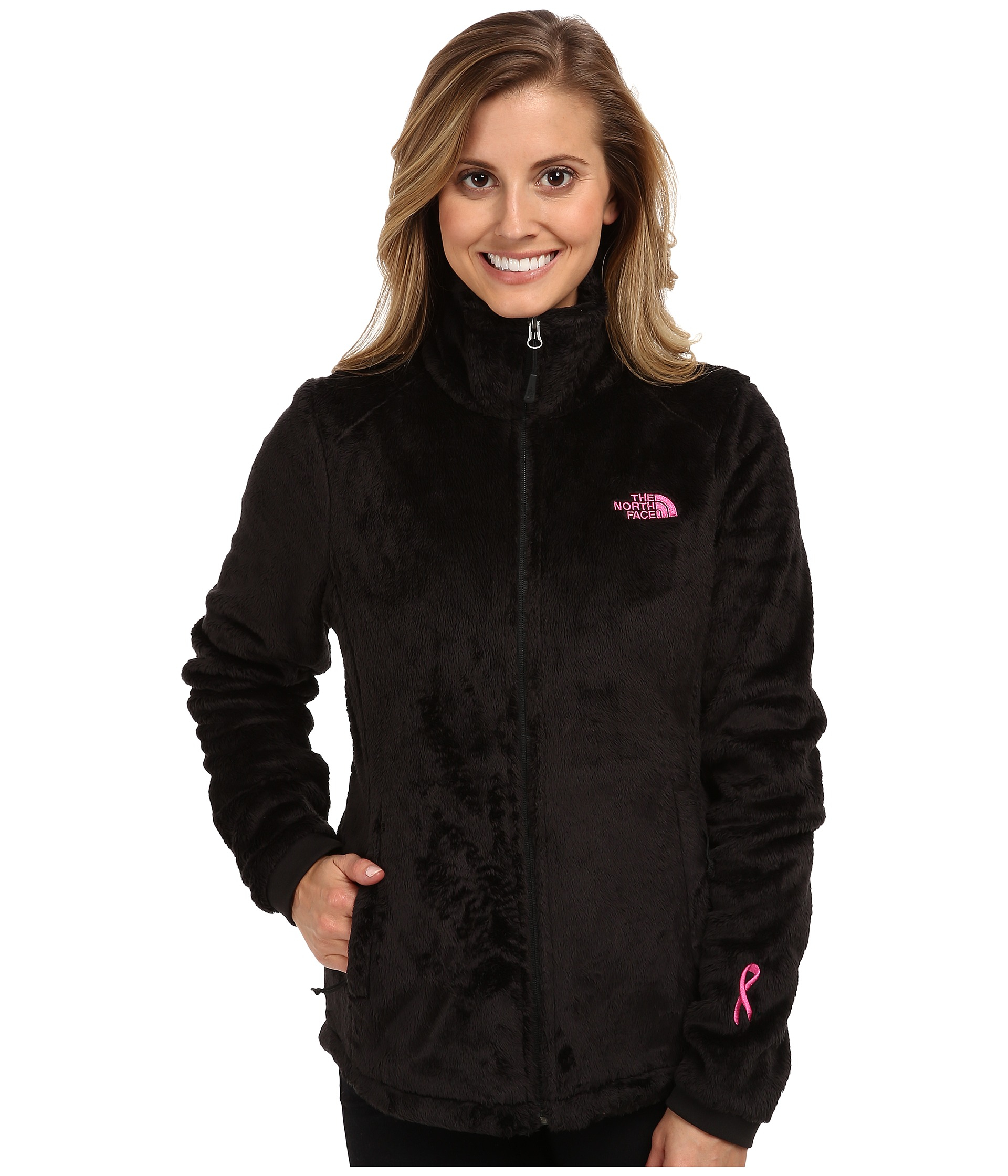 lyst the north face pink ribbon osito 2 jacket in black rh lyst com