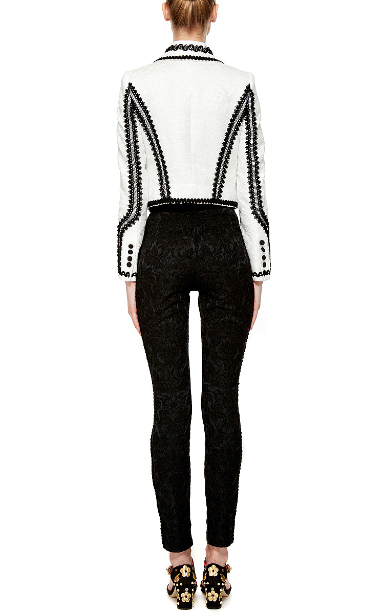 Dolce Amp Gabbana Bianco Brocade Bolero Jacket In Black Lyst