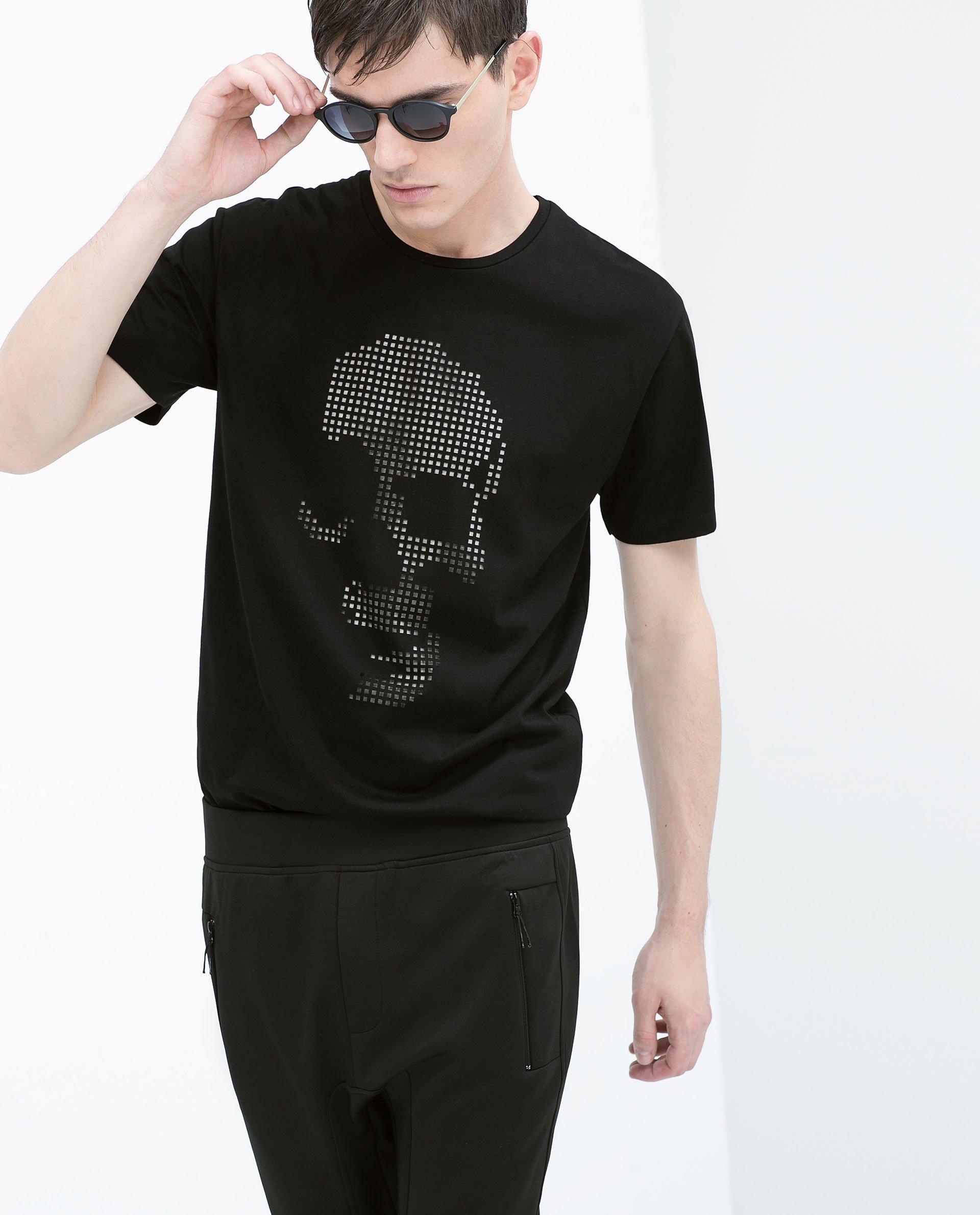 Zara cut out skull t shirt in black for men lyst for Cut shirts for men