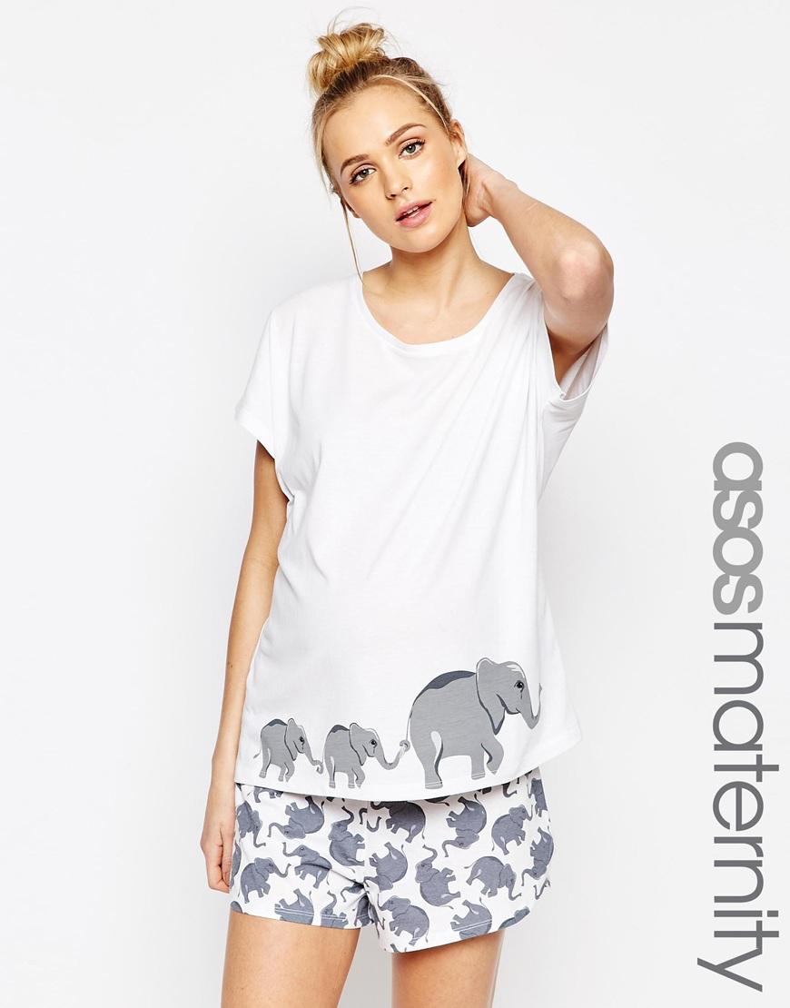 Asos elephant print t shirt short pyjama set lyst T shirt and shorts pyjamas
