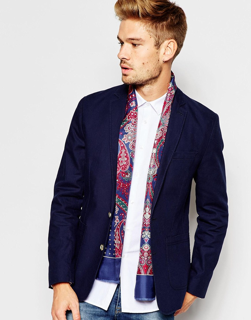 Lyst - Ted Baker Silk Scarf in Blue for Men