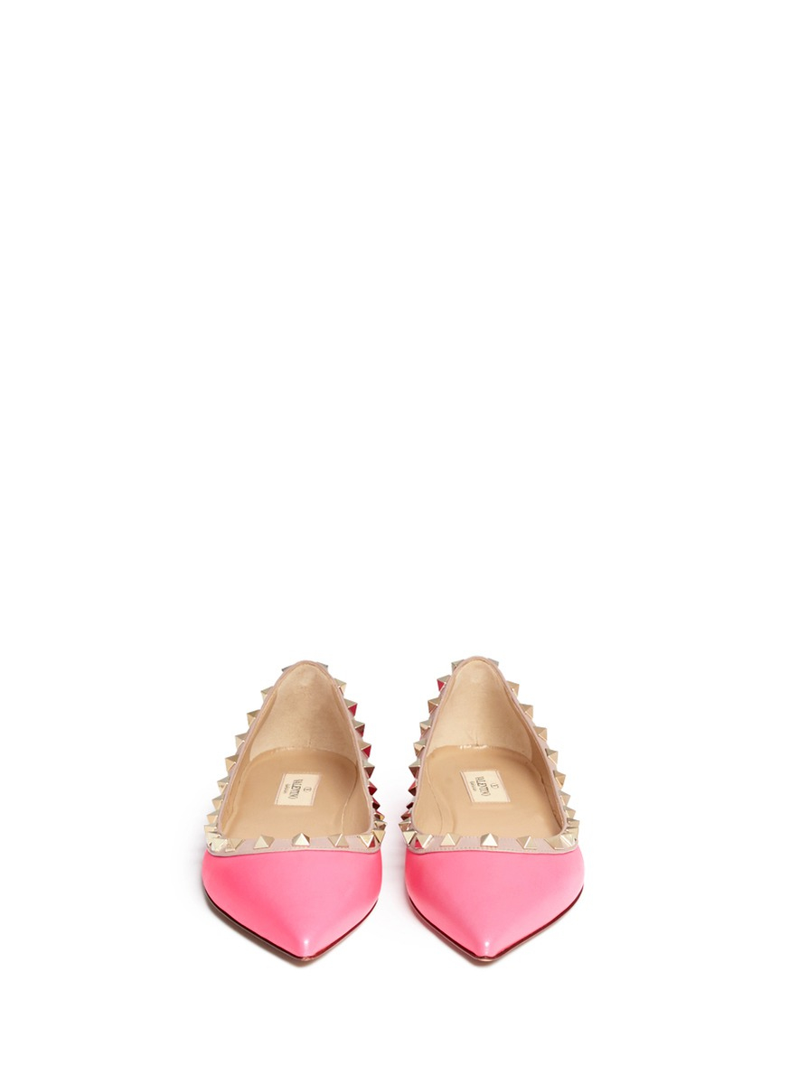 valentino rockstud leather flats in pink lyst