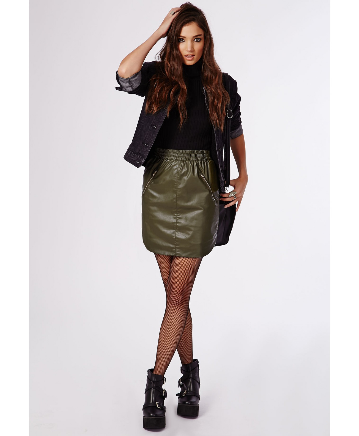 Missguided Ebony Faux Leather Zip Detail Mini Skirt Khaki in Green ...