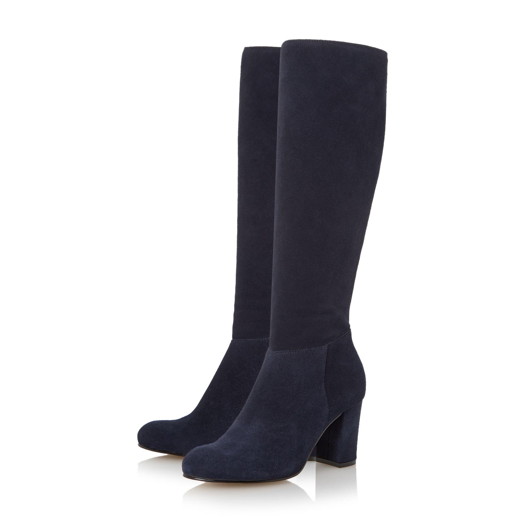 dune toulon knee high block heel suede boot in blue lyst