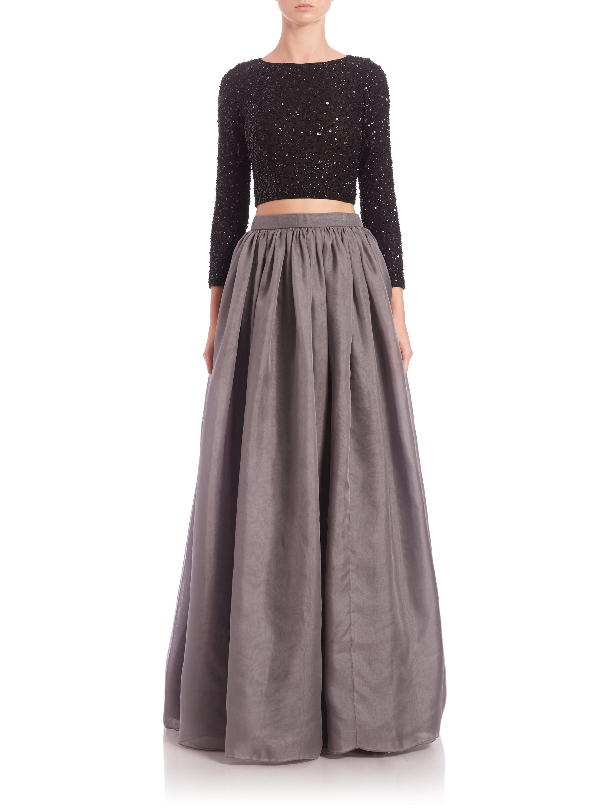 Alice   olivia Abella Silk Ball-gown Skirt in Gray | Lyst