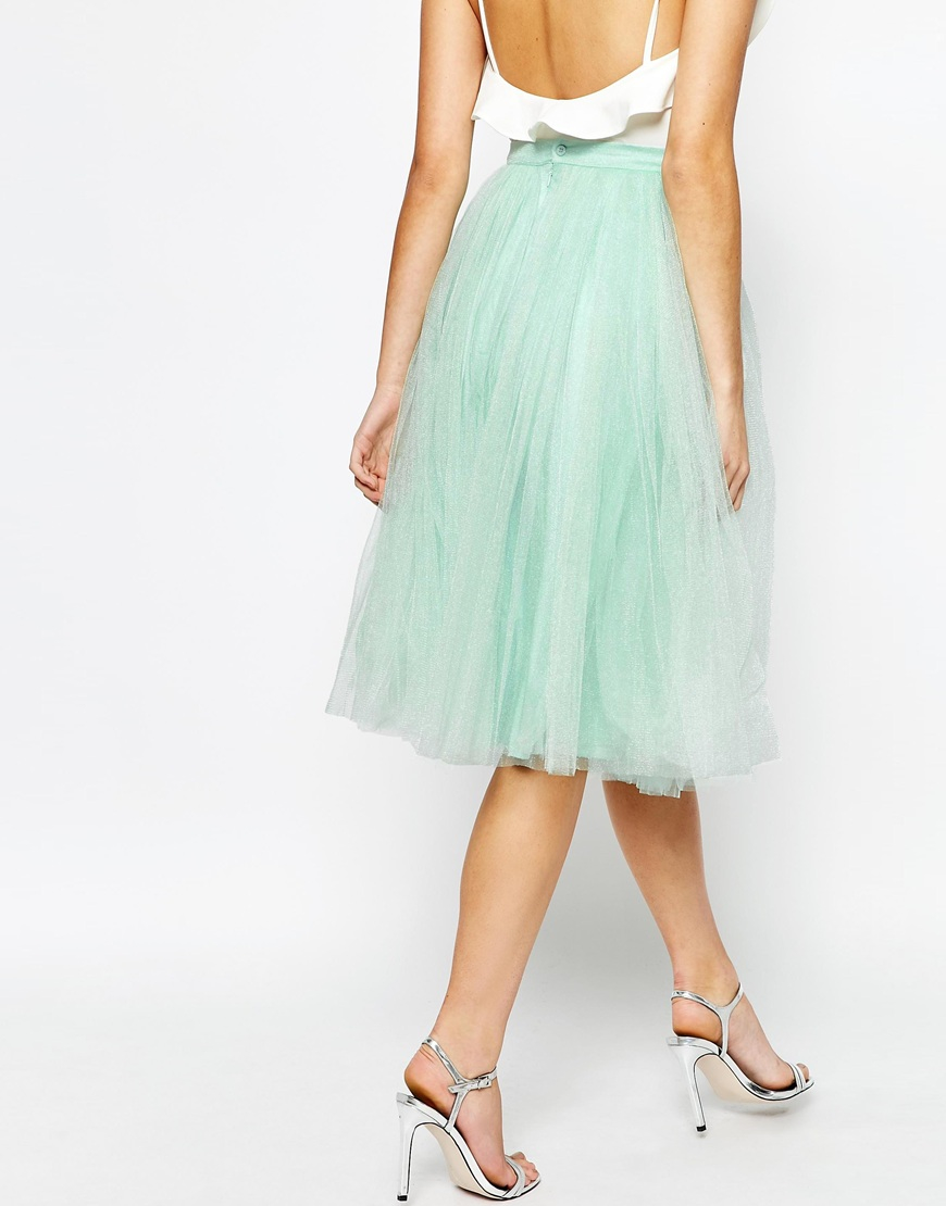 Little mistress Midi Tulle Skirt in Green   Lyst