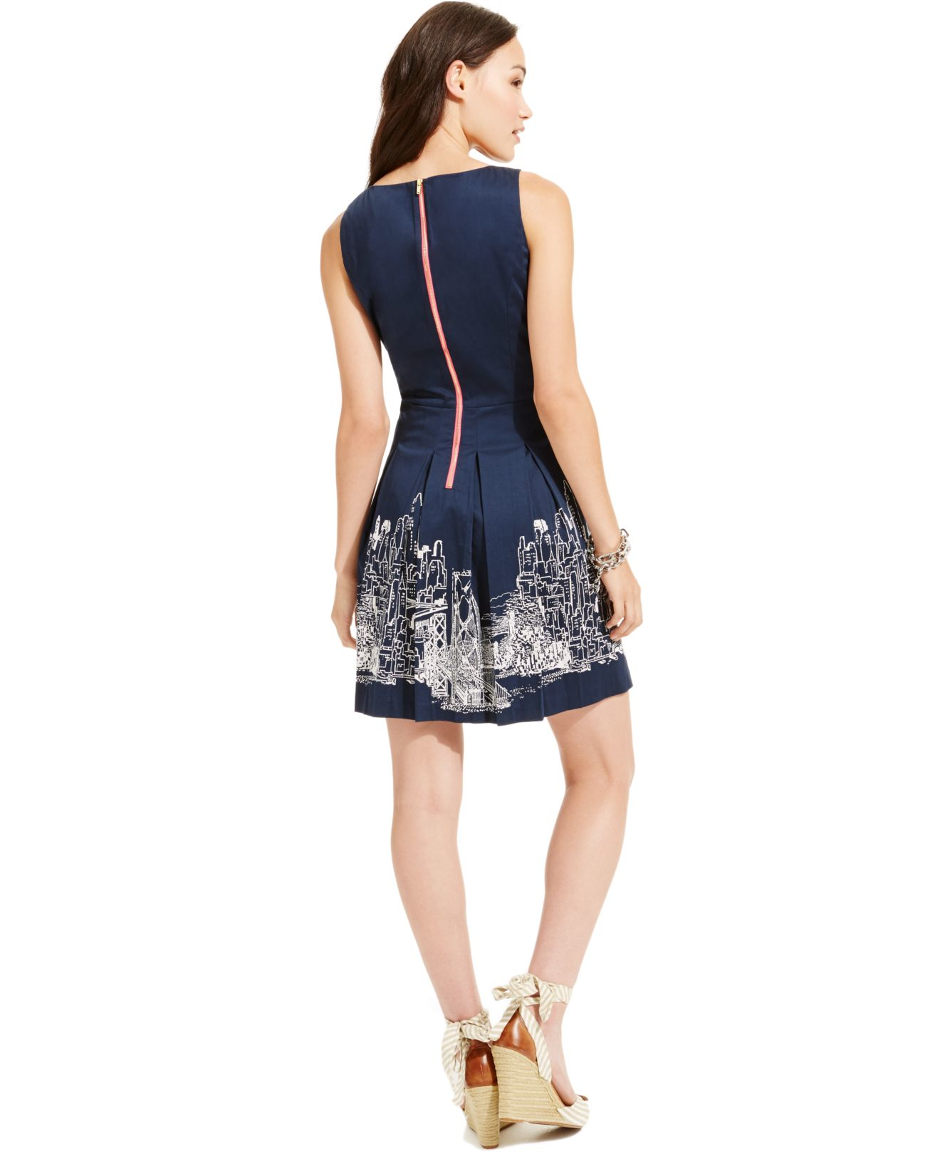 Tommy hilfiger pleated skyline print dress in blue lyst