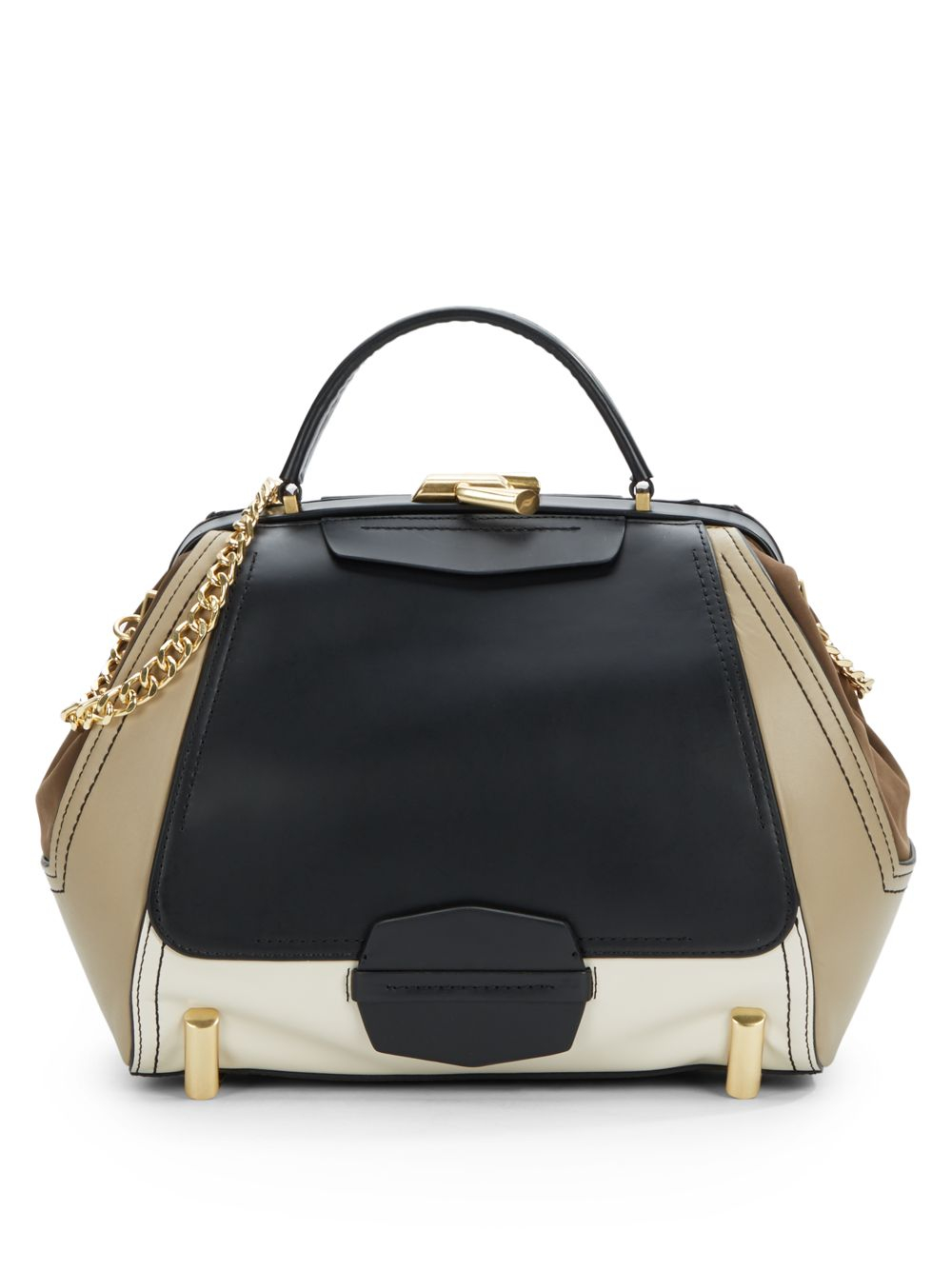 Zac Zac Posen Eartha Top Handle Colorblock Leather Bag In