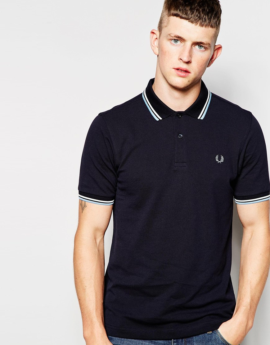 fred perry polo shirt with twin tip in slim fit navy in. Black Bedroom Furniture Sets. Home Design Ideas