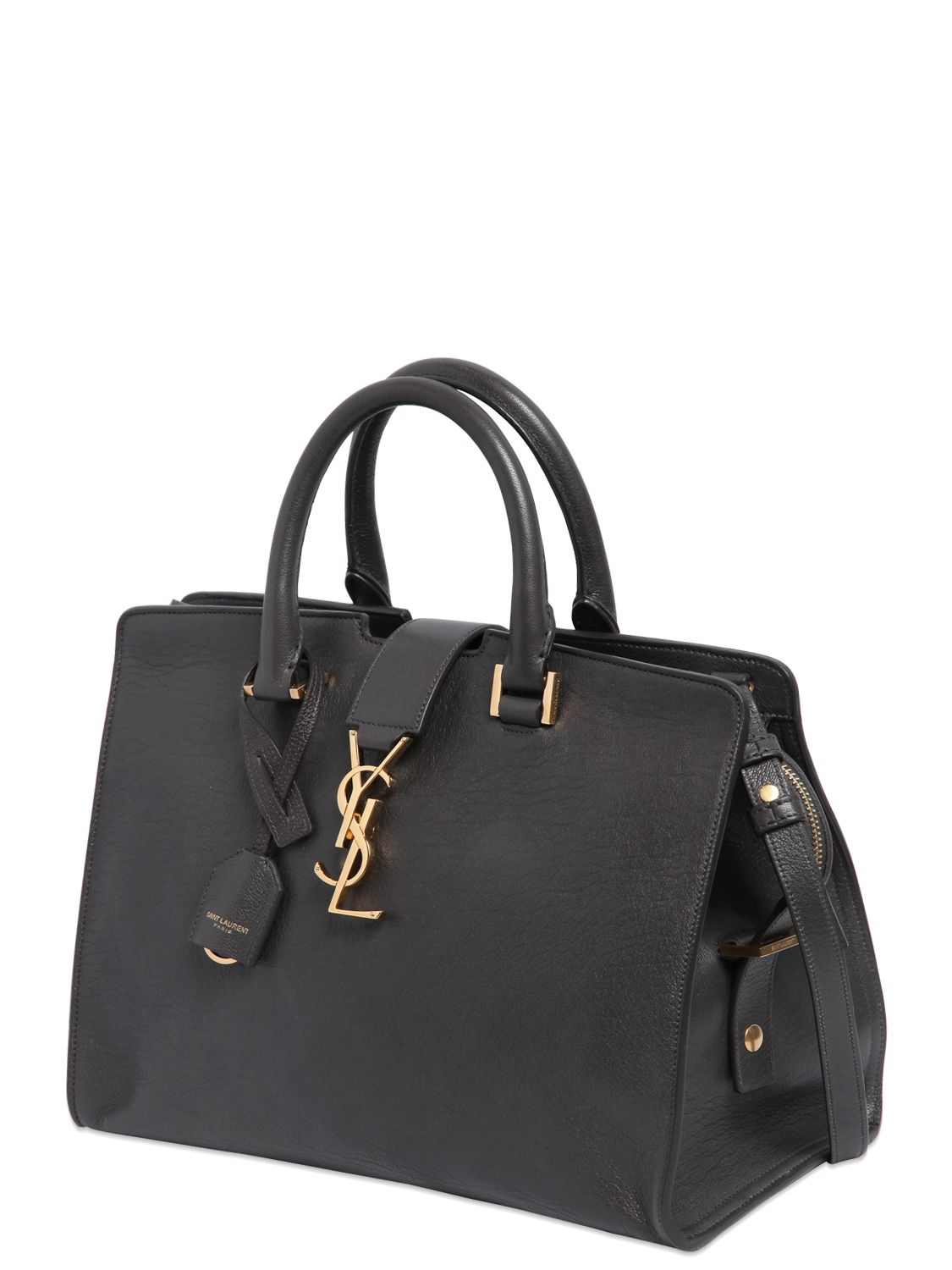 3a75d6256ee79 Lyst - Saint Laurent Small Cabas Monogram Leather Bag in Gray