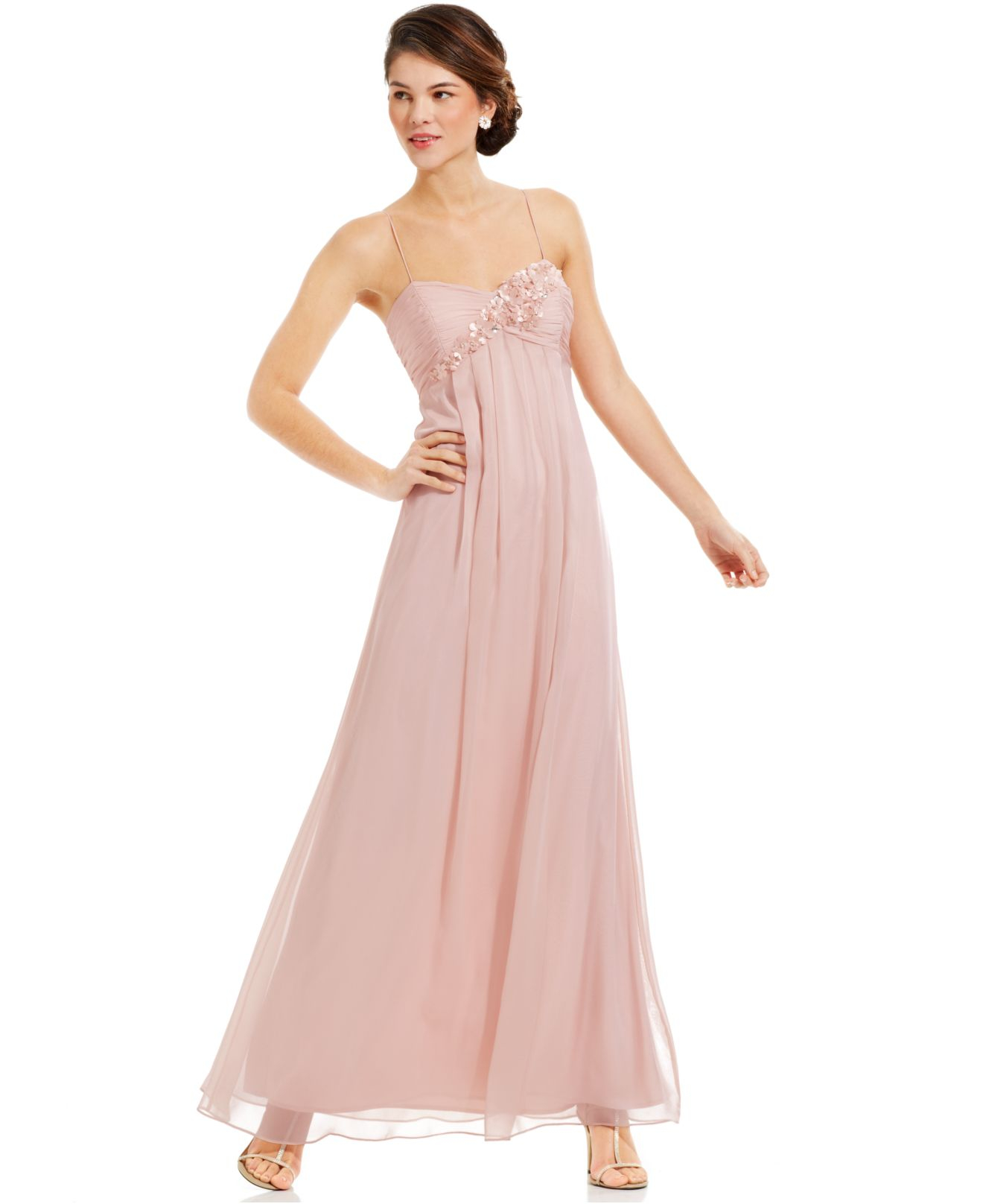 f552bbf1d8d7 Adrianna Papell Pink Sleeveless Floral-applique Gown