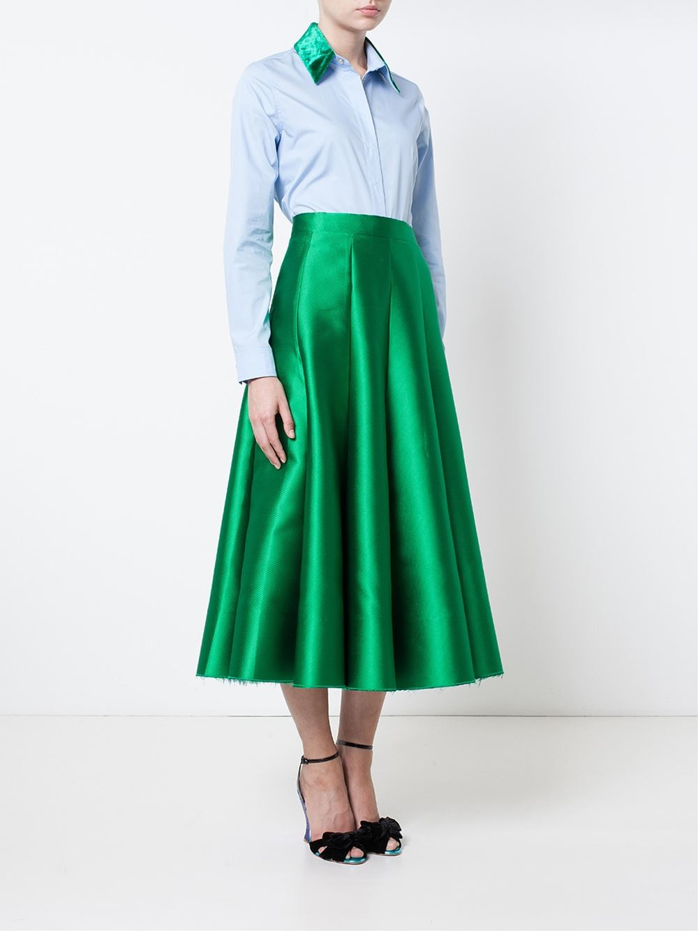 zinko satin midi skirt in green lyst
