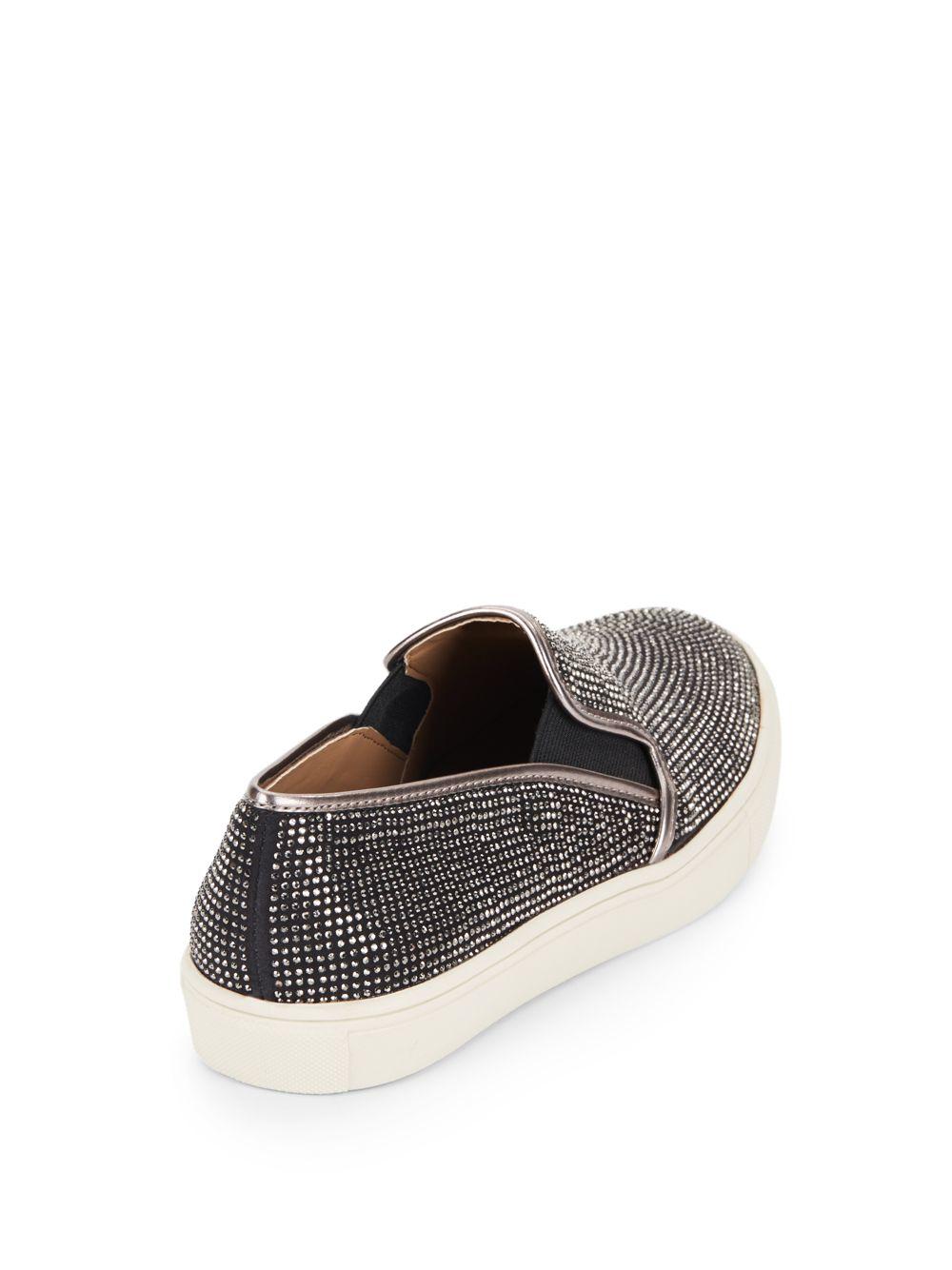45274ad85d4f Lyst - Steve Madden Exsess Rhinestone Slip-on Sneakers in Black