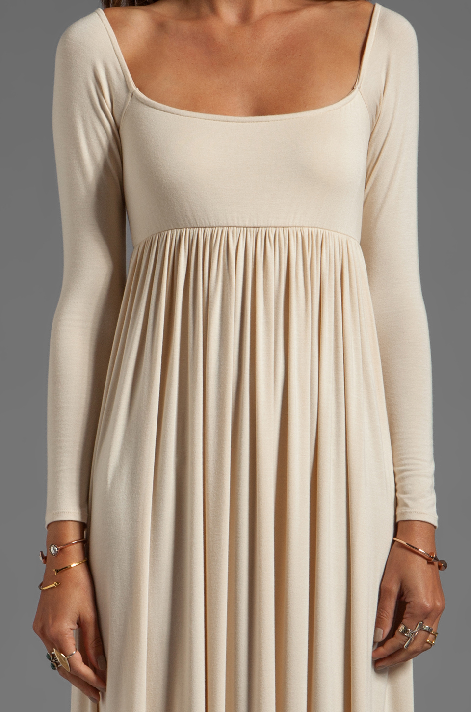 Lyst rachel pally isa pleated dress in natural gallery ombrellifo Image collections
