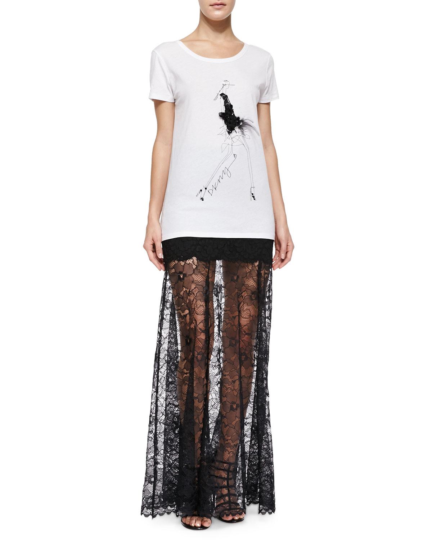 Dkny Mini Skirt W/ Long Lace Overlay in Black | Lyst