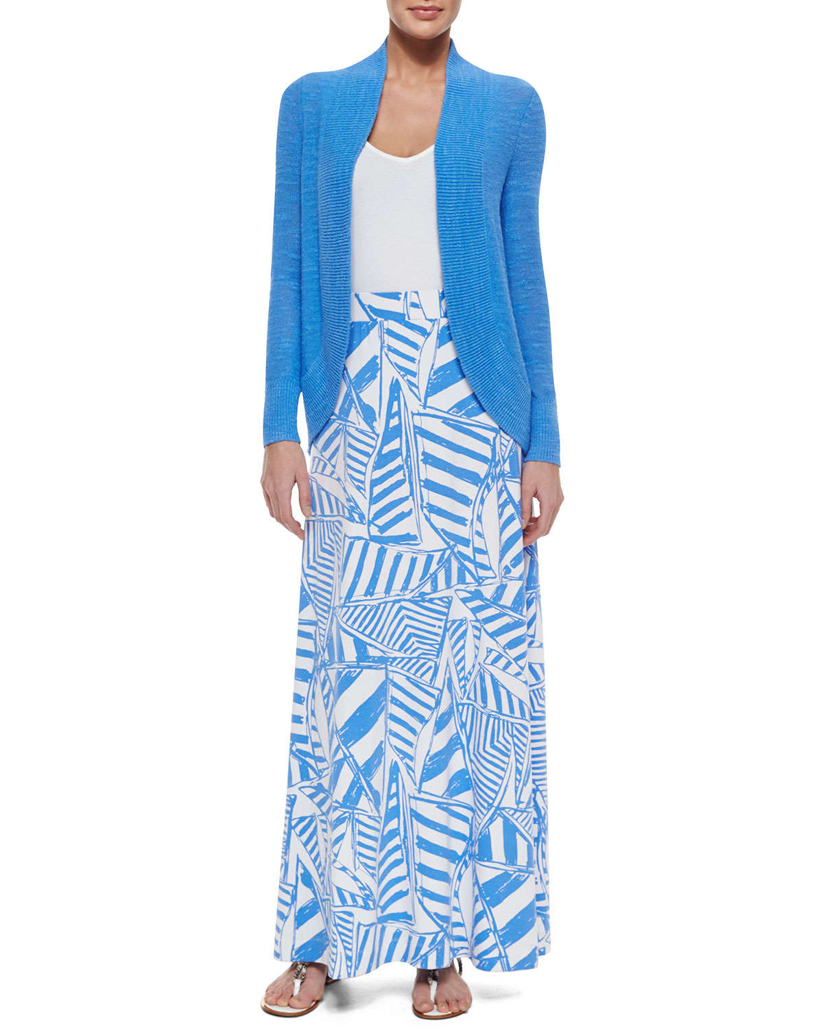 lilly pulitzer nola printed maxi skirt in blue lyst