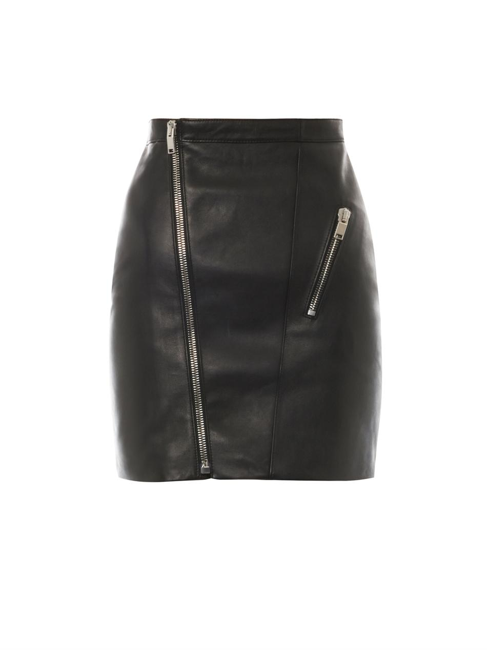 Leather Skirt With Zip At Front - Dress Ala