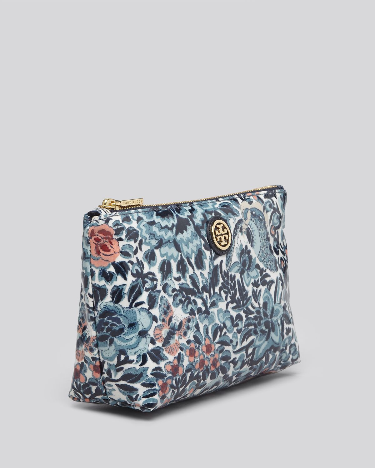 Tory Burch Cosmetic Case Small Slouchy Blue Kyoto
