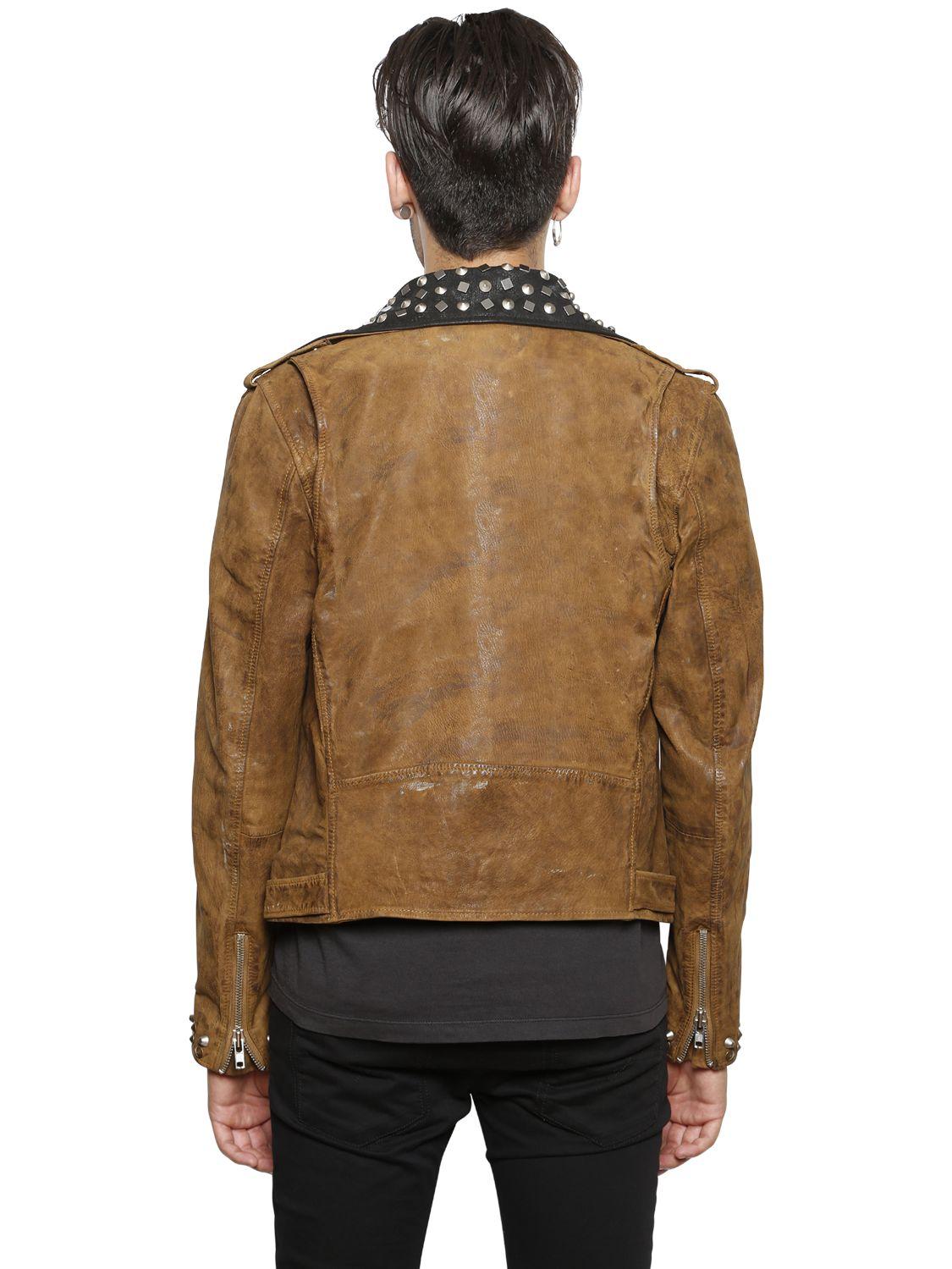 Diesel Studded Vintage Leather Moto Jacket In Brown For Men Lyst