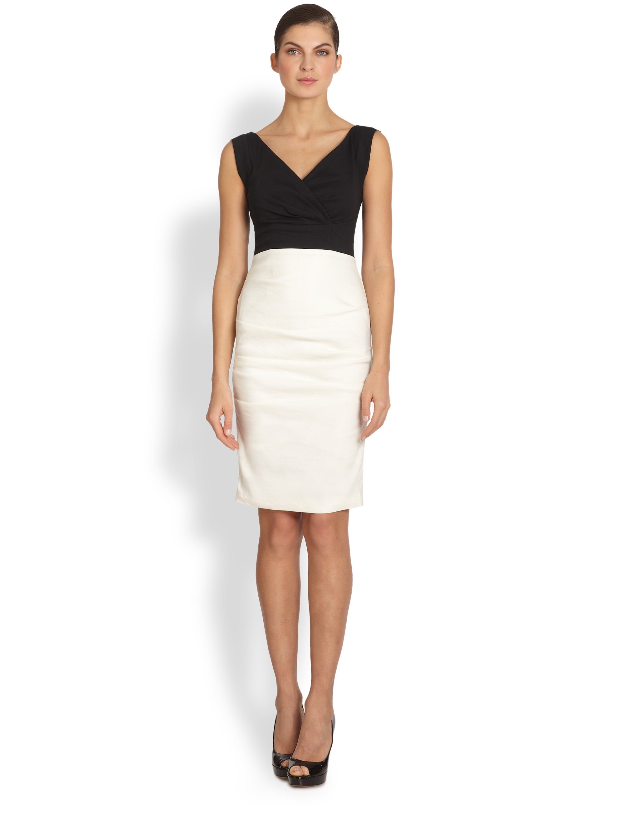 b3809d5805 Lyst - Nicole Miller Andrea Two-tone Cocktail Dress in Black