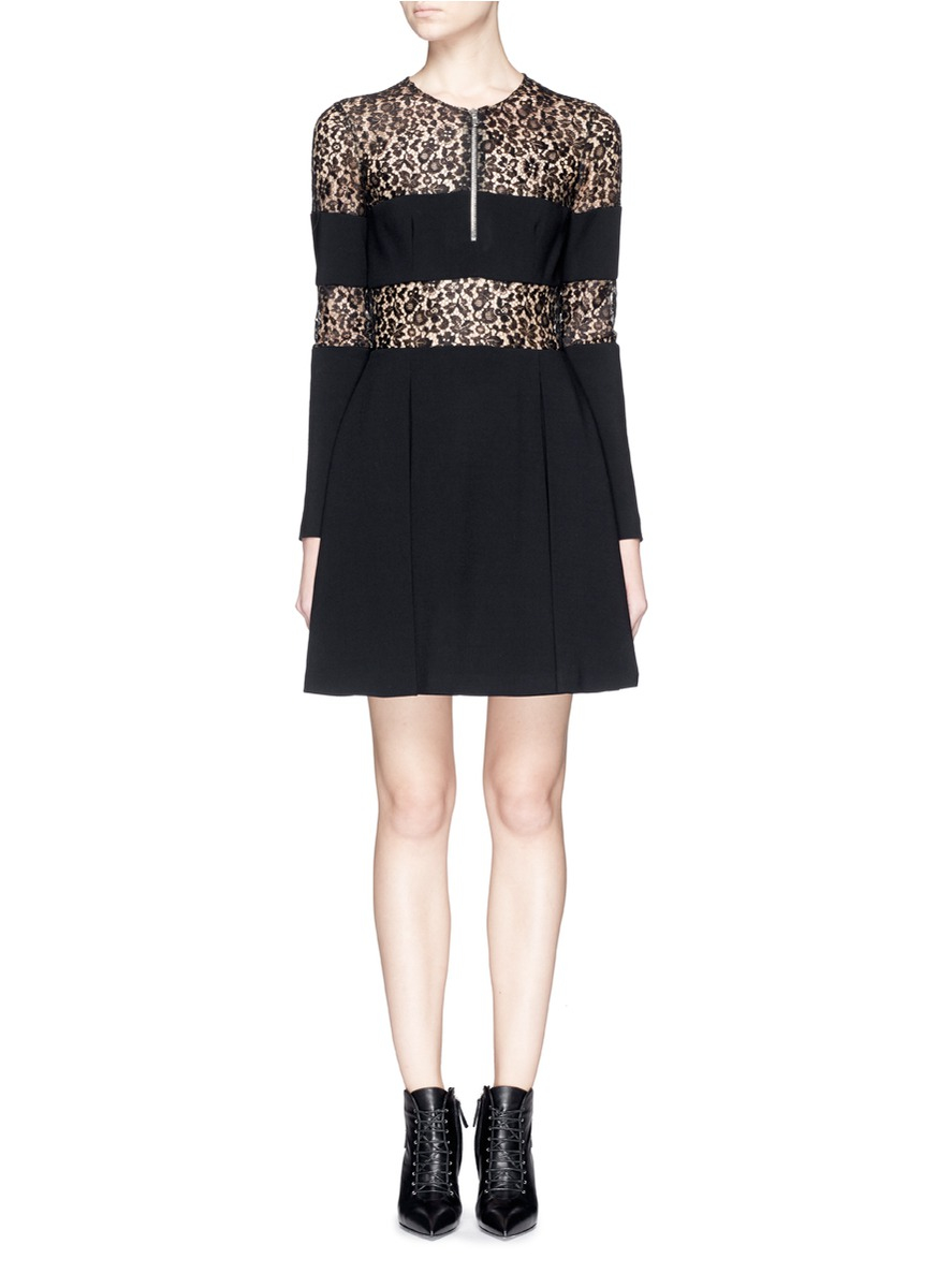 Alexander Mcqueen Lace Stripe Bodice Compact Wool Crepe