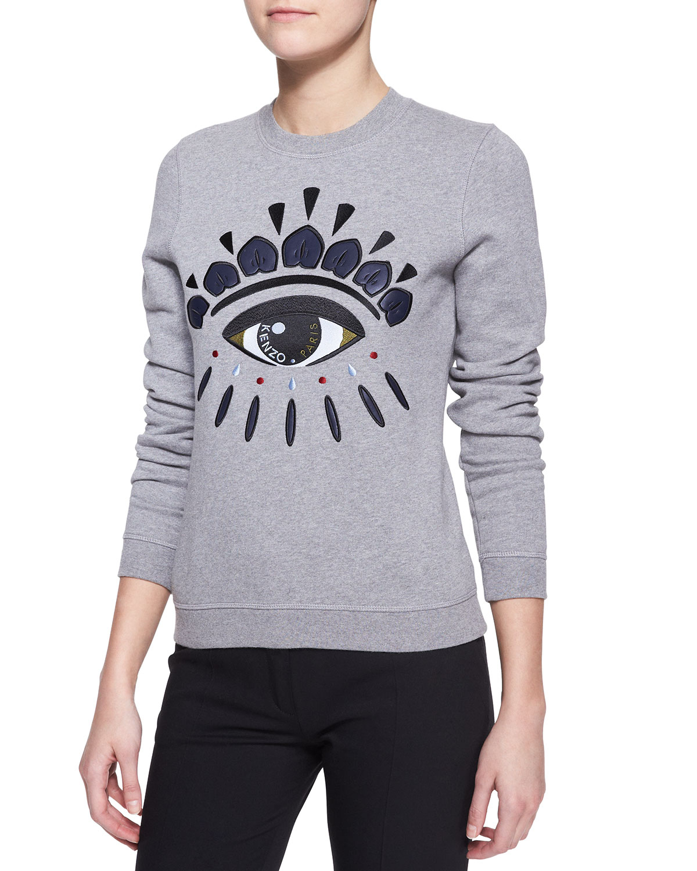 6fa8b3e92c7b Lyst kenzo embroidered cotton eye sweatshirt in gray for men jpg 1200x1500 Kenzo  eye sweater