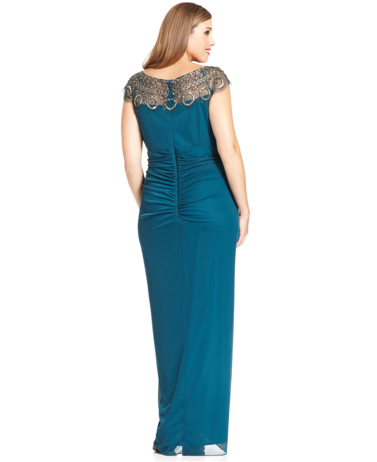 Lyst - Xscape Plus Size Cap-sleeve Illusion Beaded Gown in Blue