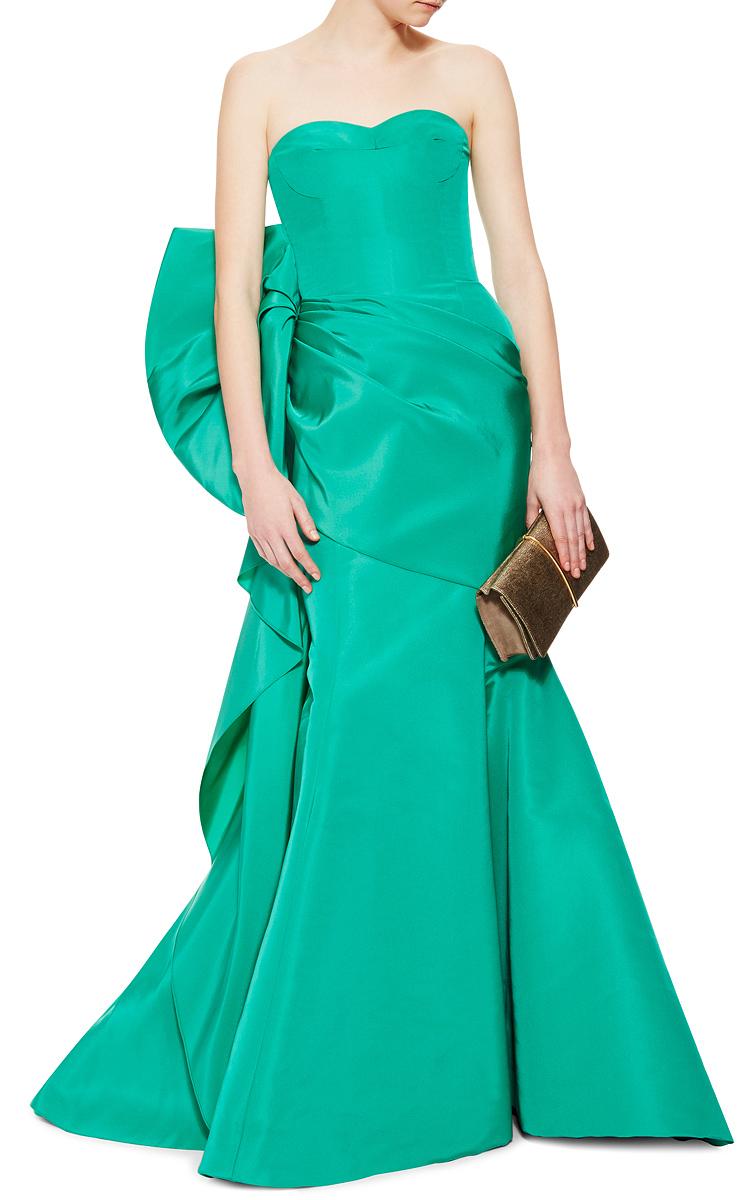 Lyst Oscar De La Renta Emerald Green Ruffled Evening