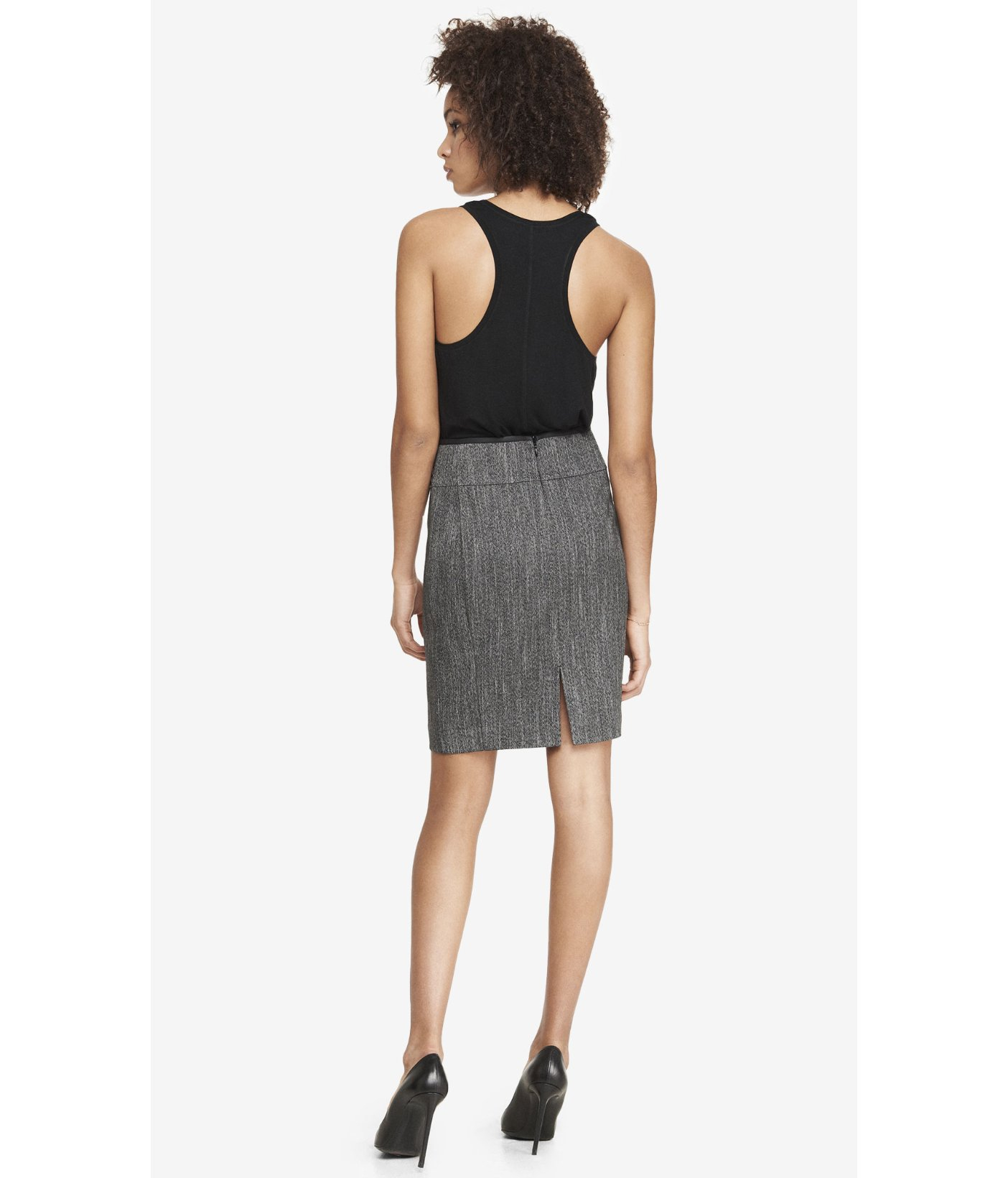 express high waist pintucked marled pencil skirt in gray