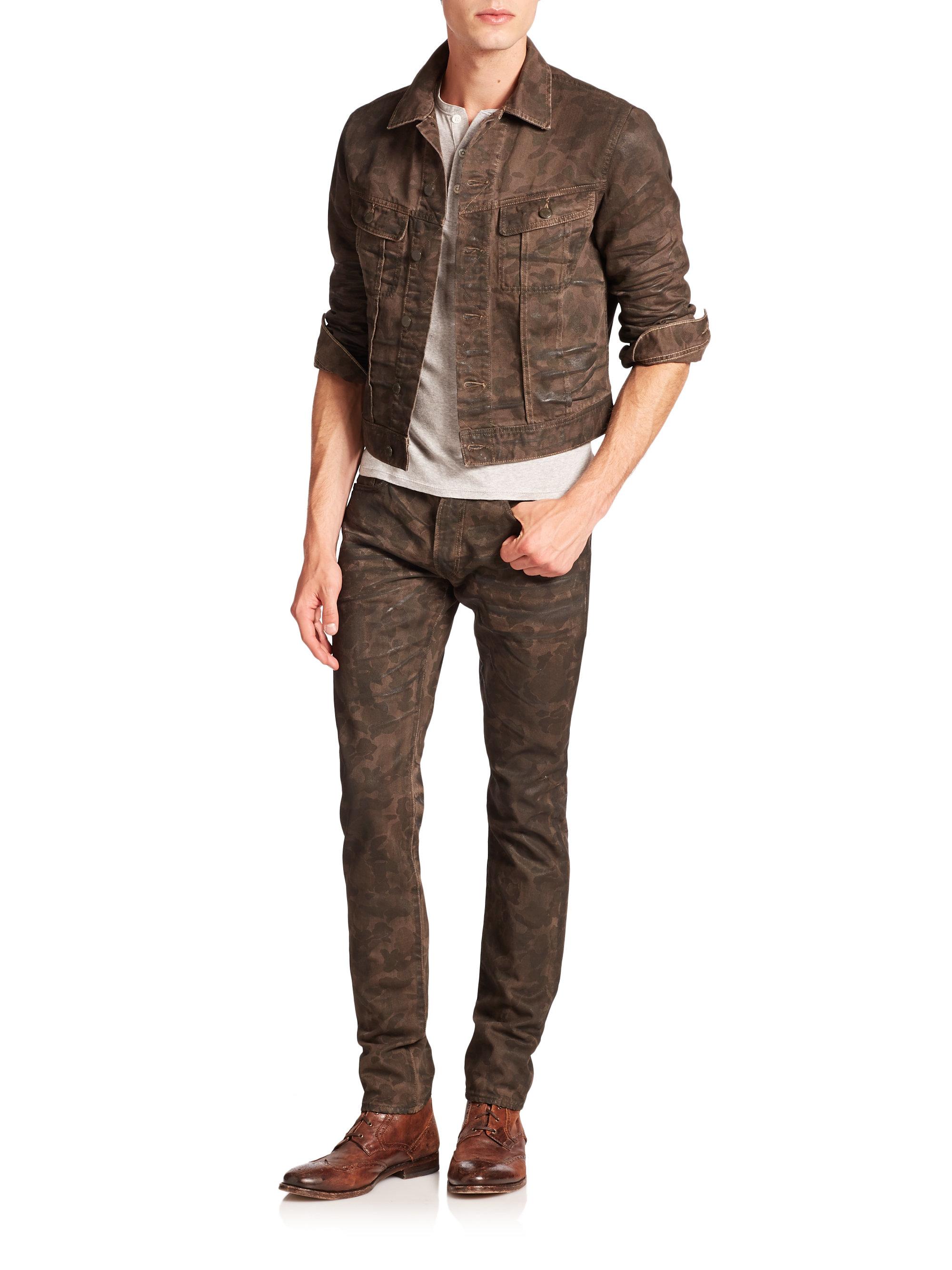 Polo Ralph Lauren Camouflage Denim Trucker Jacket In Brown