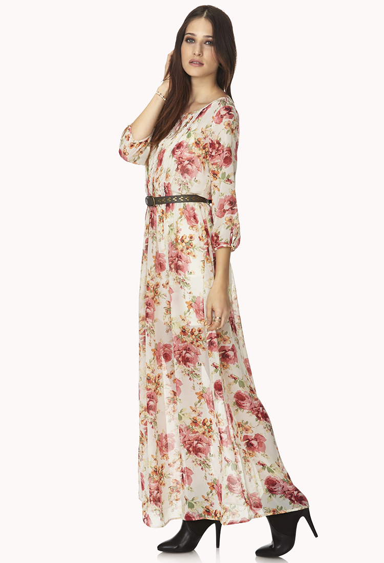 702d2df2ca36 Lyst - Forever 21 Peasant Floral Maxi Dress in Natural