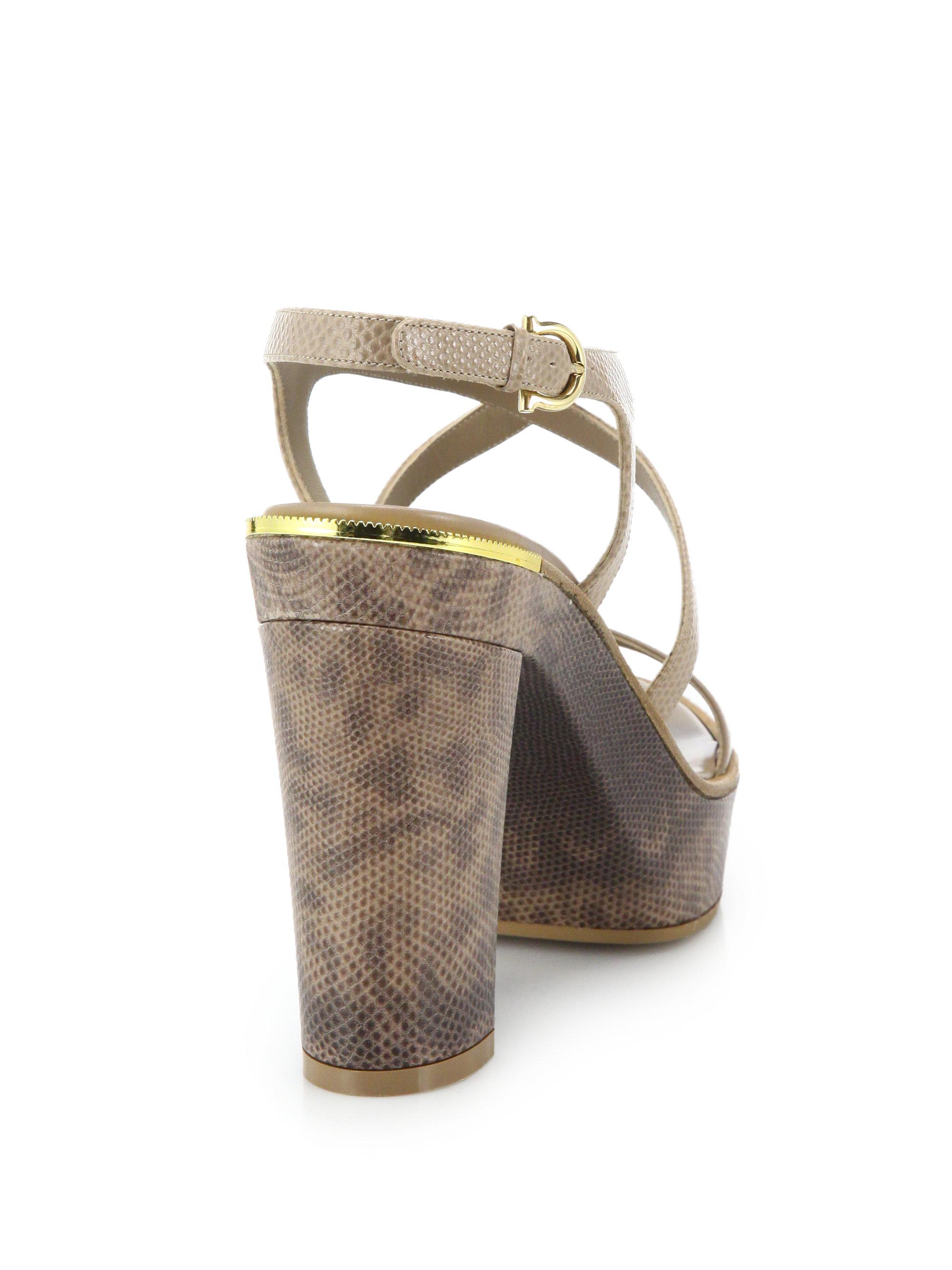 9547034bb5f ... 766e325dd128 Lyst - Ferragamo Gina Python-embossed Leather Platform  Sandals in .. ...