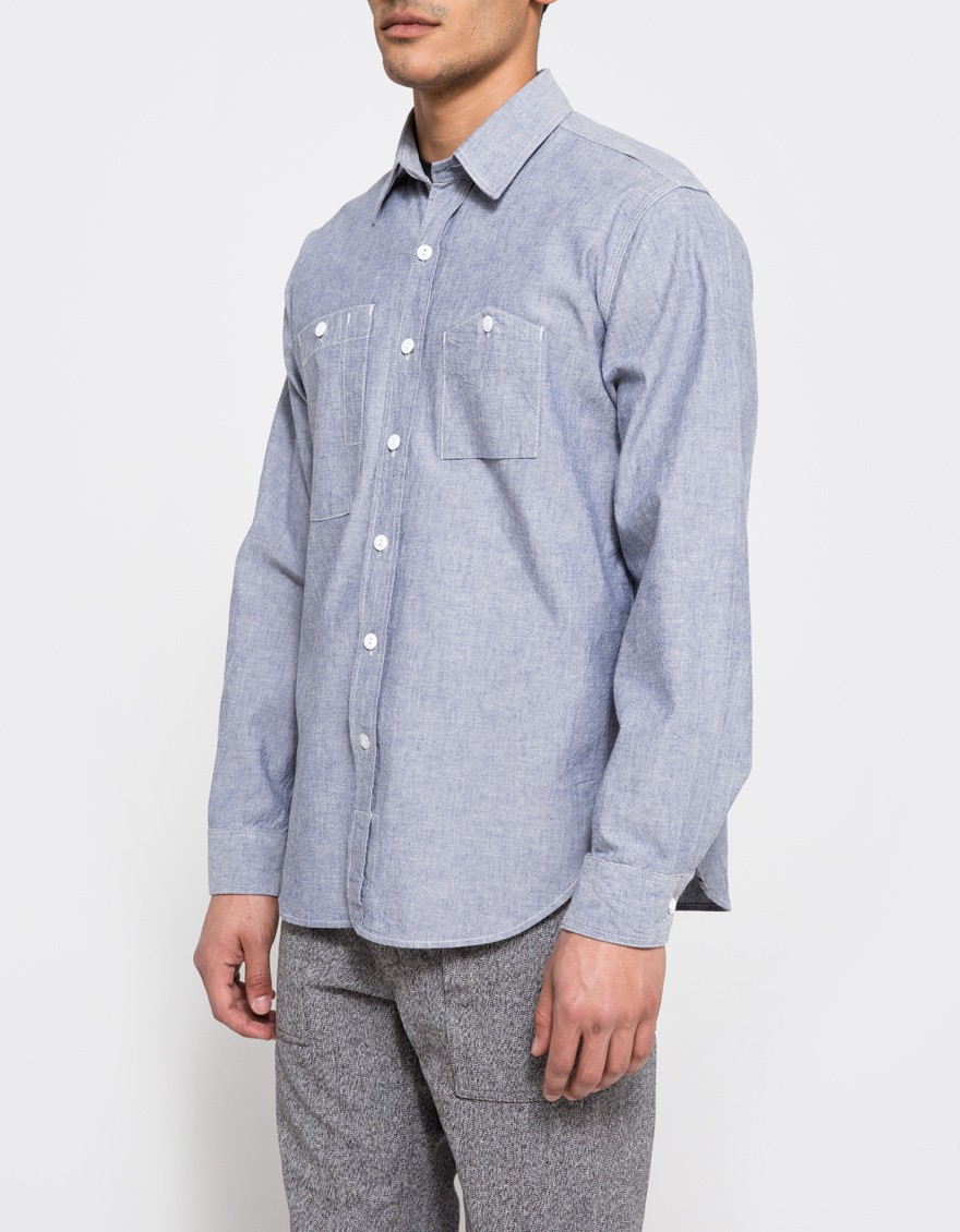 Key Shirts: Men's Blue 507 45 Short-Sleeve Chambray Cotton Work Shirt
