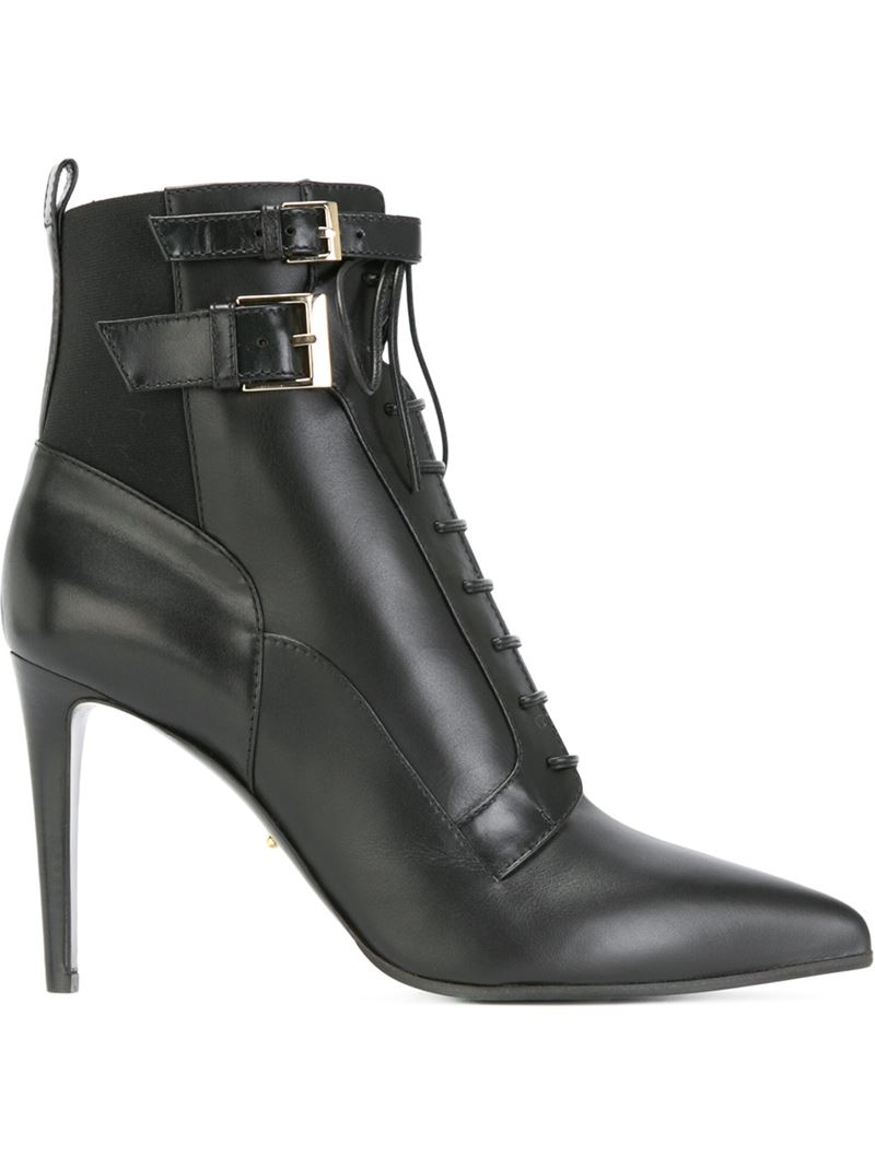 sergio lace up high heel boots in black lyst
