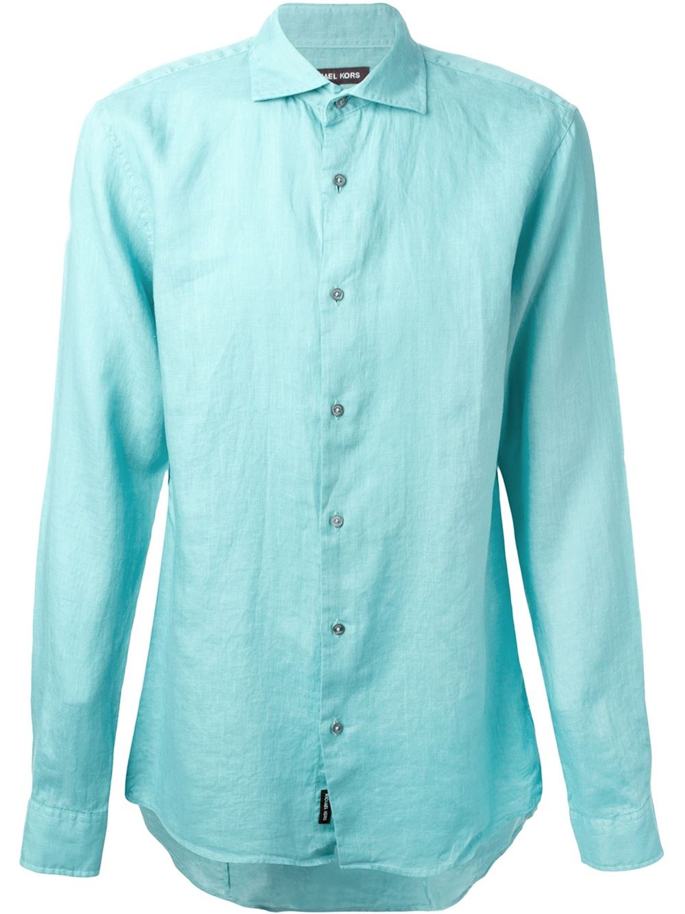 Michael kors spread collar shirt in teal for men blue lyst for What is a spread collar shirt