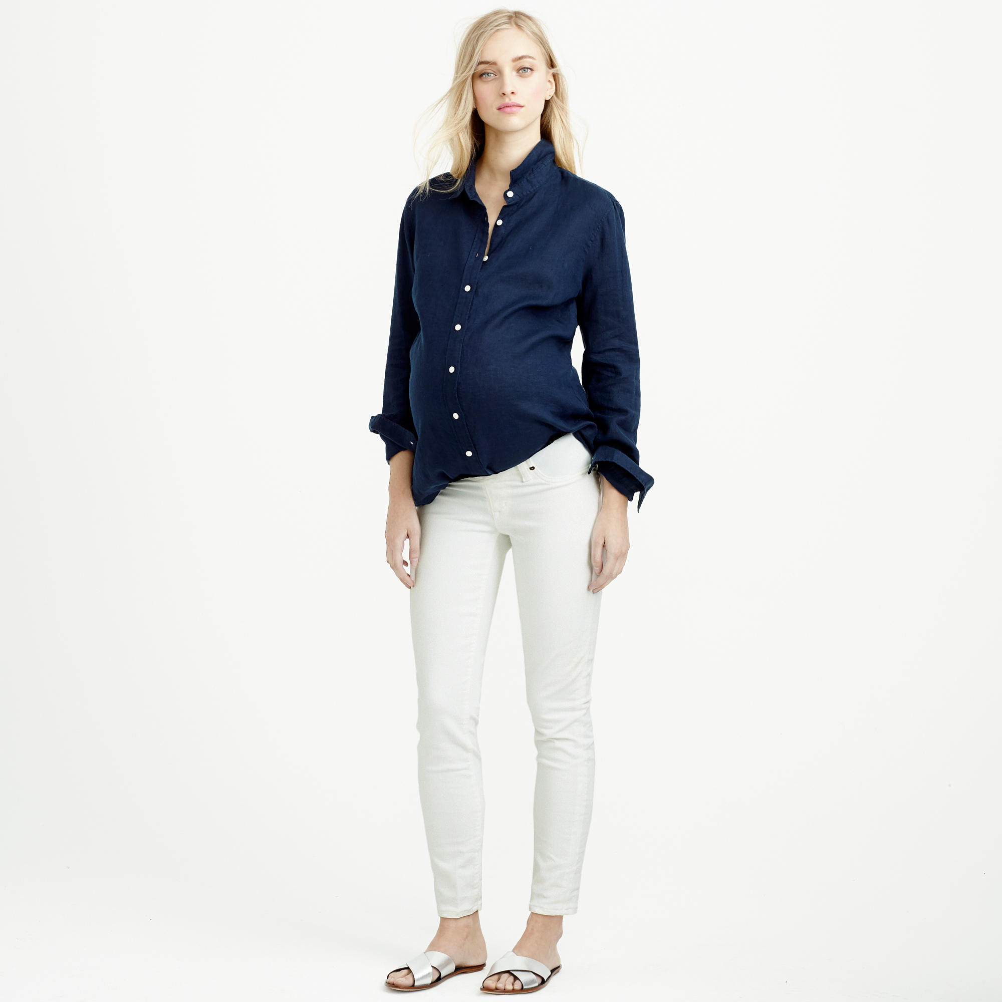 a2a14f88d06a7 J.Crew Petite Maternity Pull-on Toothpick Jean In Chalk in White - Lyst